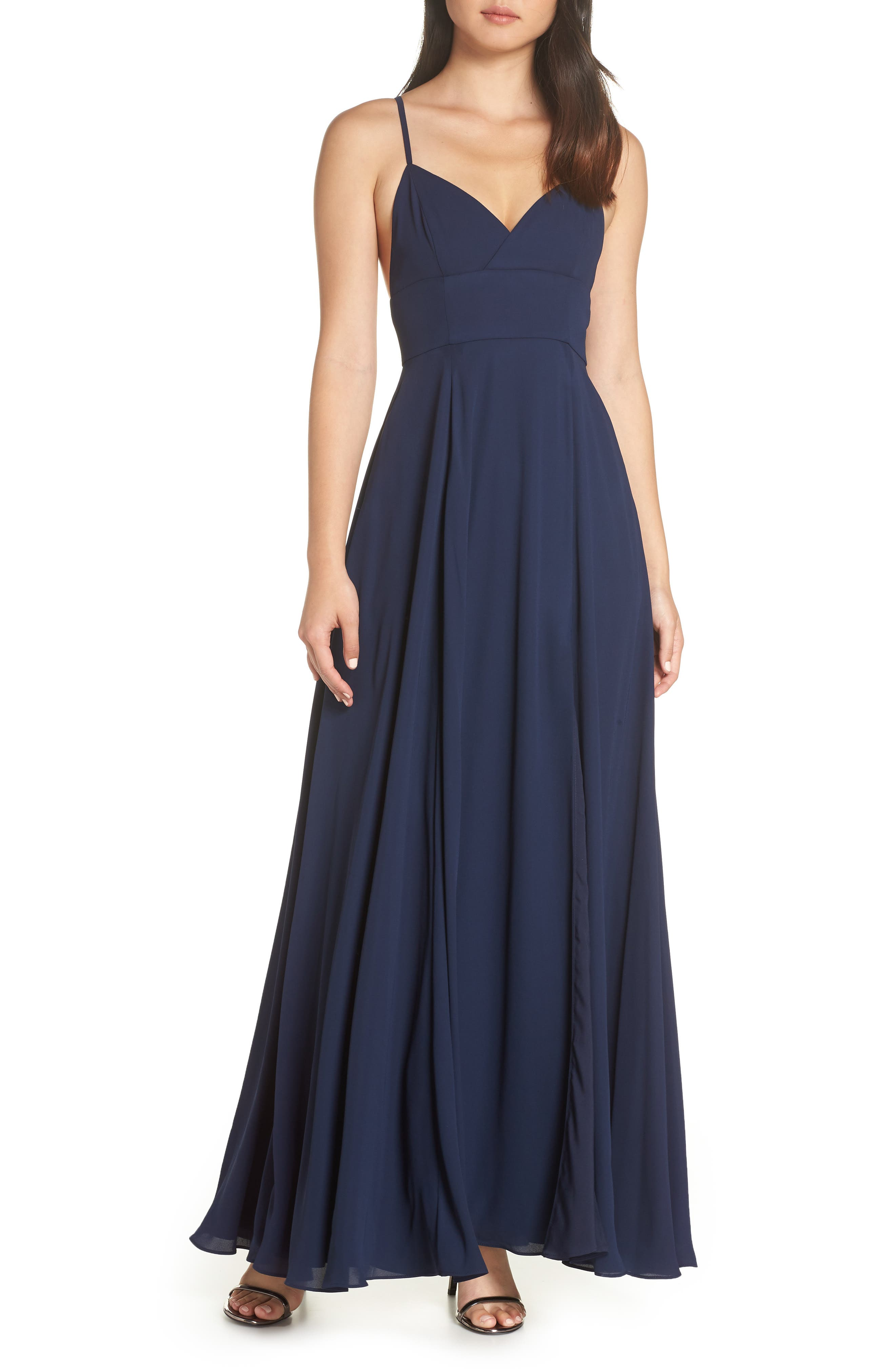 Fame And Partners Strappy Evening Dress, Blue
