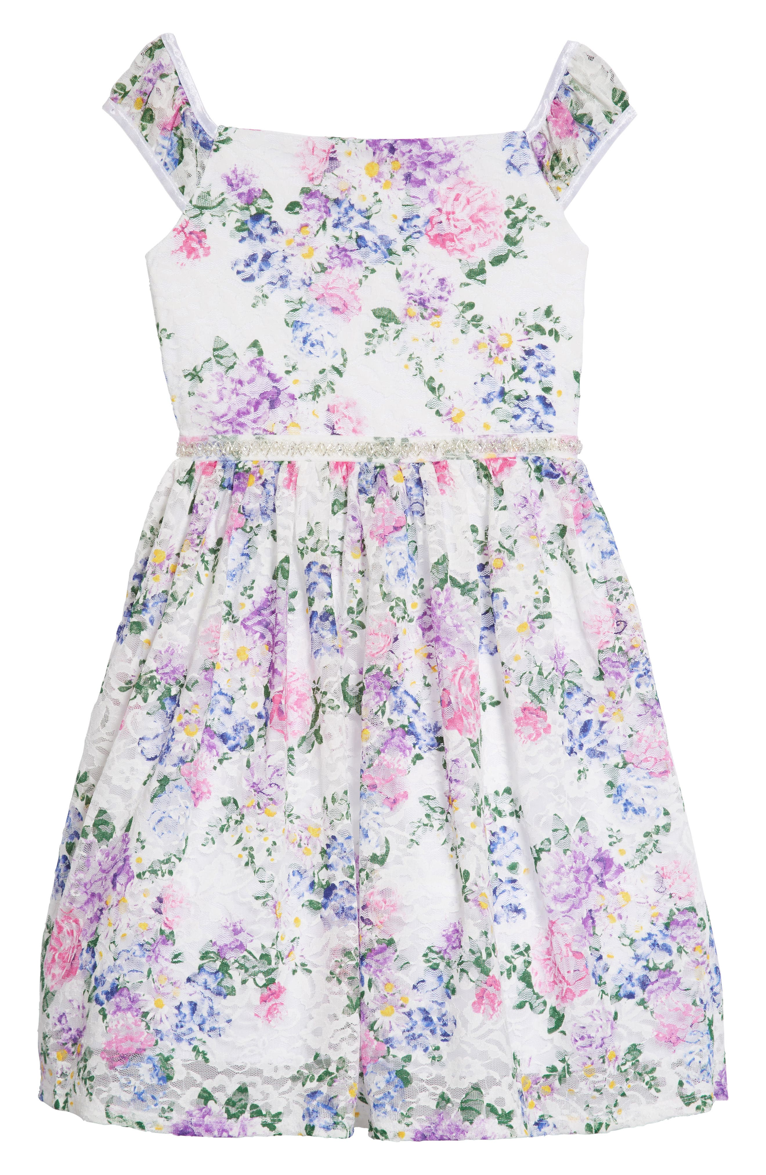 LOVE, NICKIE LEW,                             Floral Lace Dress,                             Main thumbnail 1, color,                             106