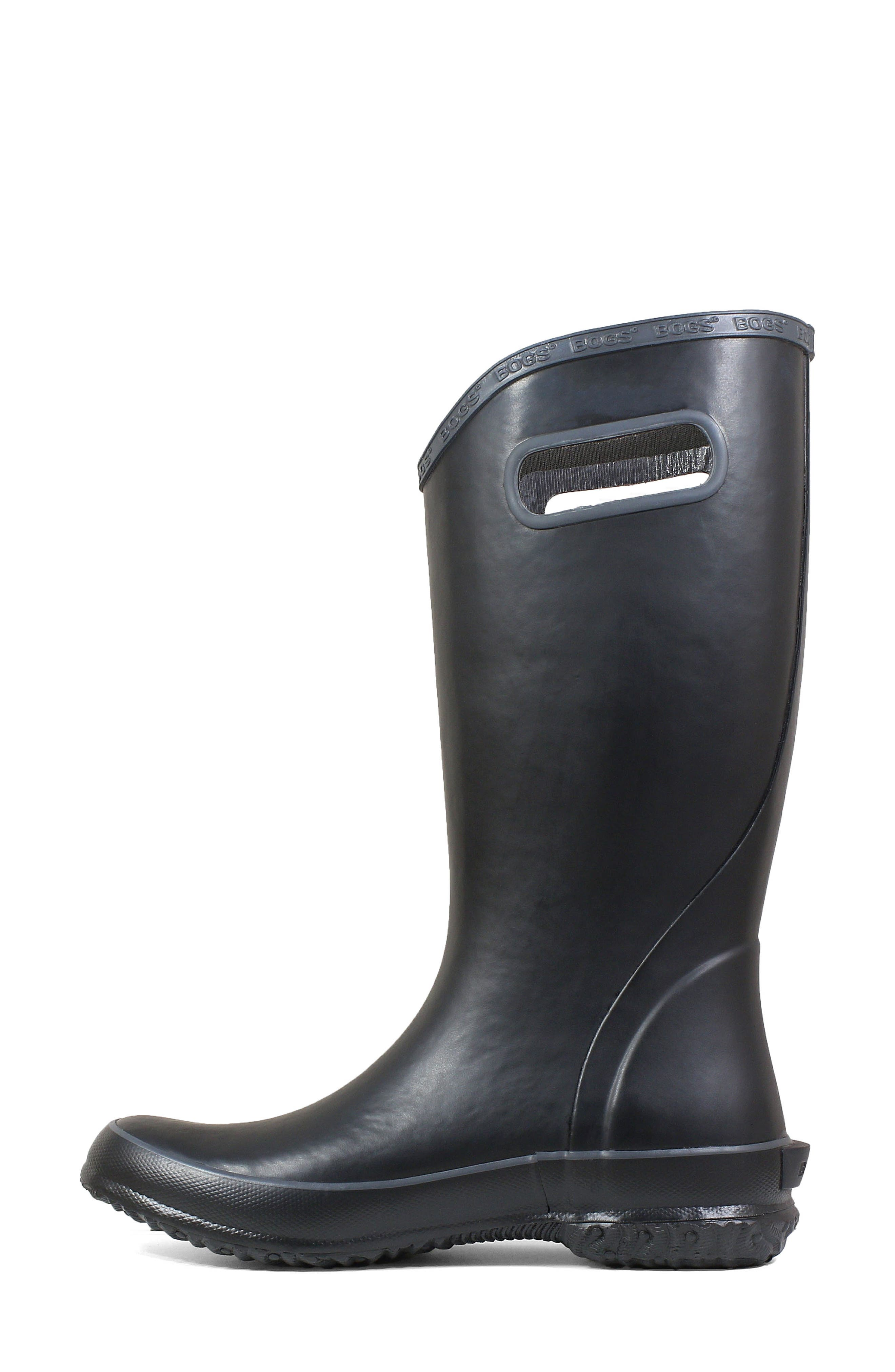 Classic Tall Waterproof Rain Boot,                             Alternate thumbnail 8, color,                             BLACK RUBBER