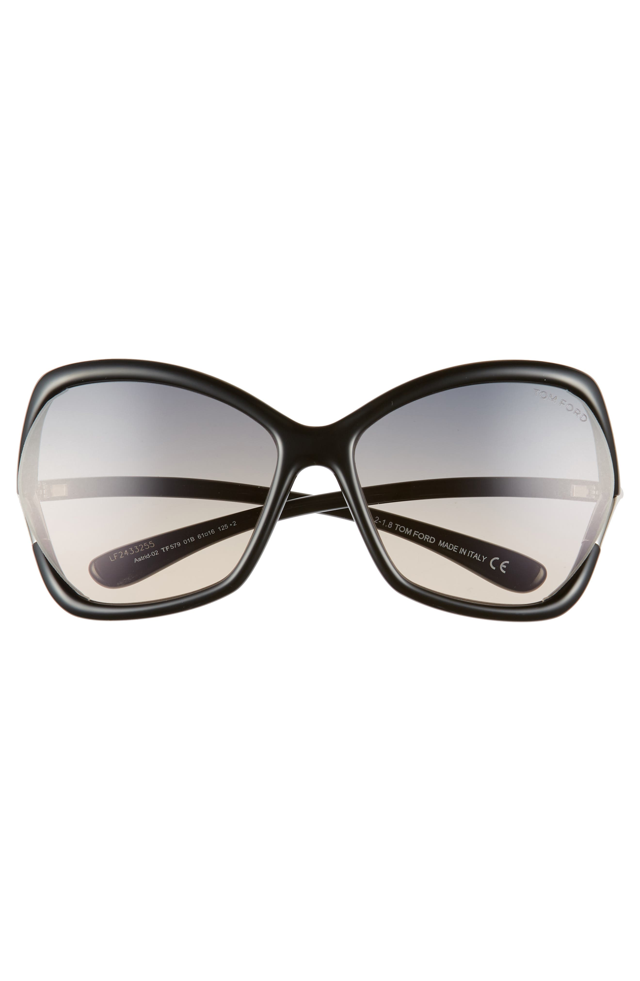 Astrid 61mm Geometric Sunglasses,                             Alternate thumbnail 3, color,                             SHINY BLACK/ GRADIENT SMOKE