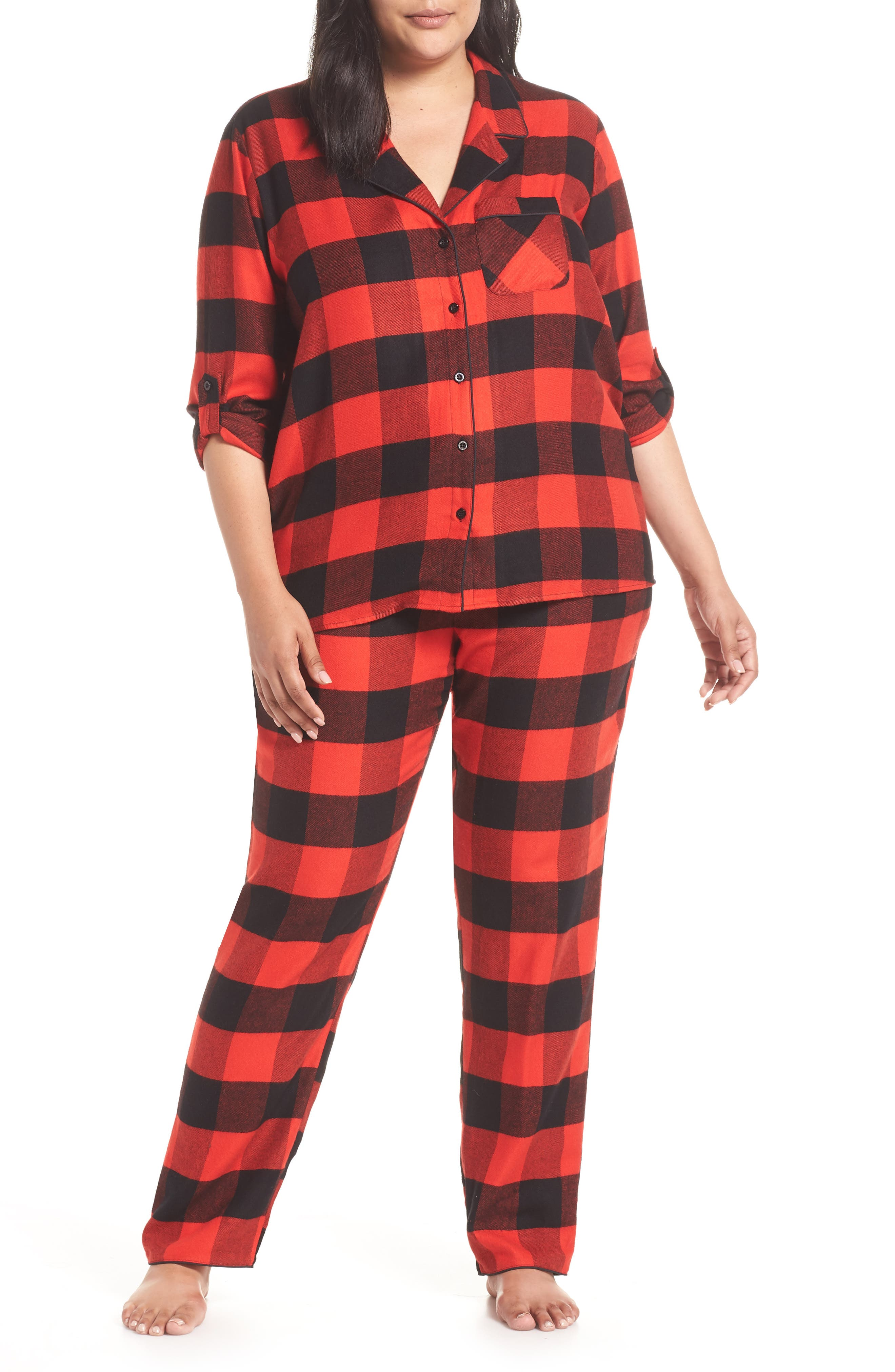 Starlight Plaid Flannel Pajamas,                         Main,                         color, RED BLOOM LARGE BUFFALO CHECK