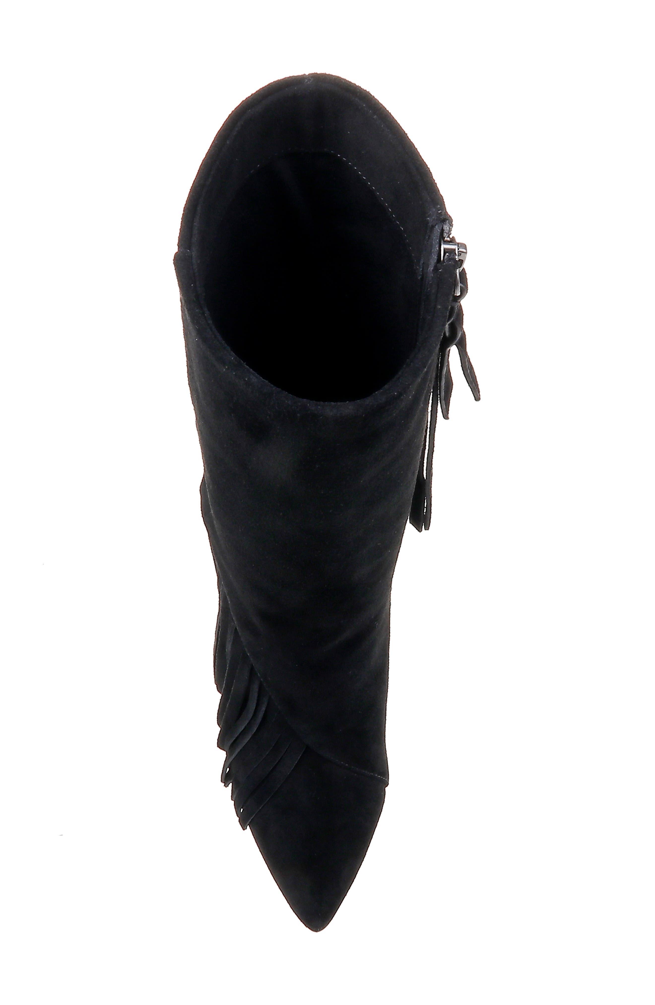 Camron Fringe Boot,                             Alternate thumbnail 5, color,                             BLACK SUEDE