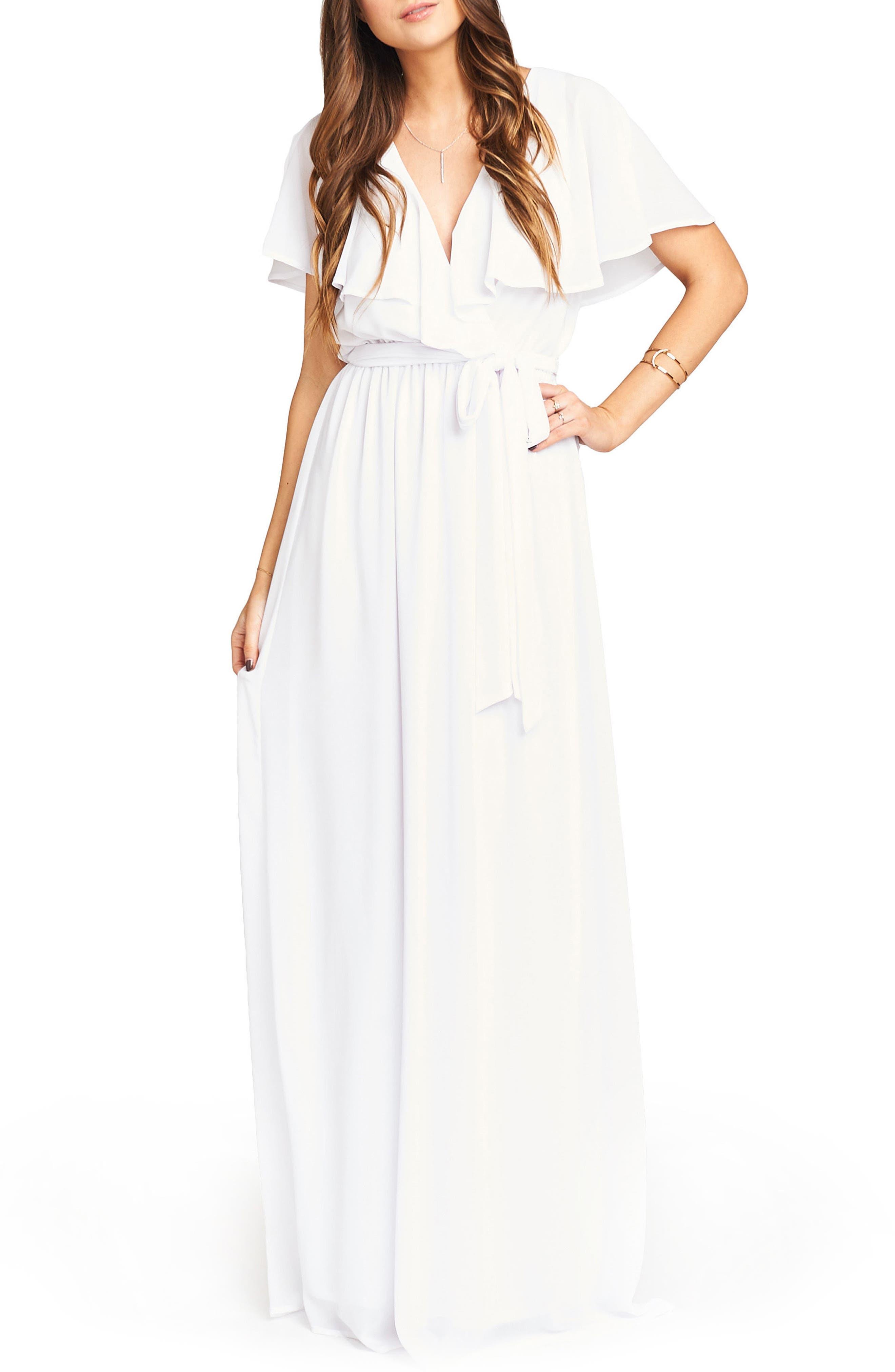 Audrey Ruffle Wrap Front Gown,                             Main thumbnail 1, color,                             120