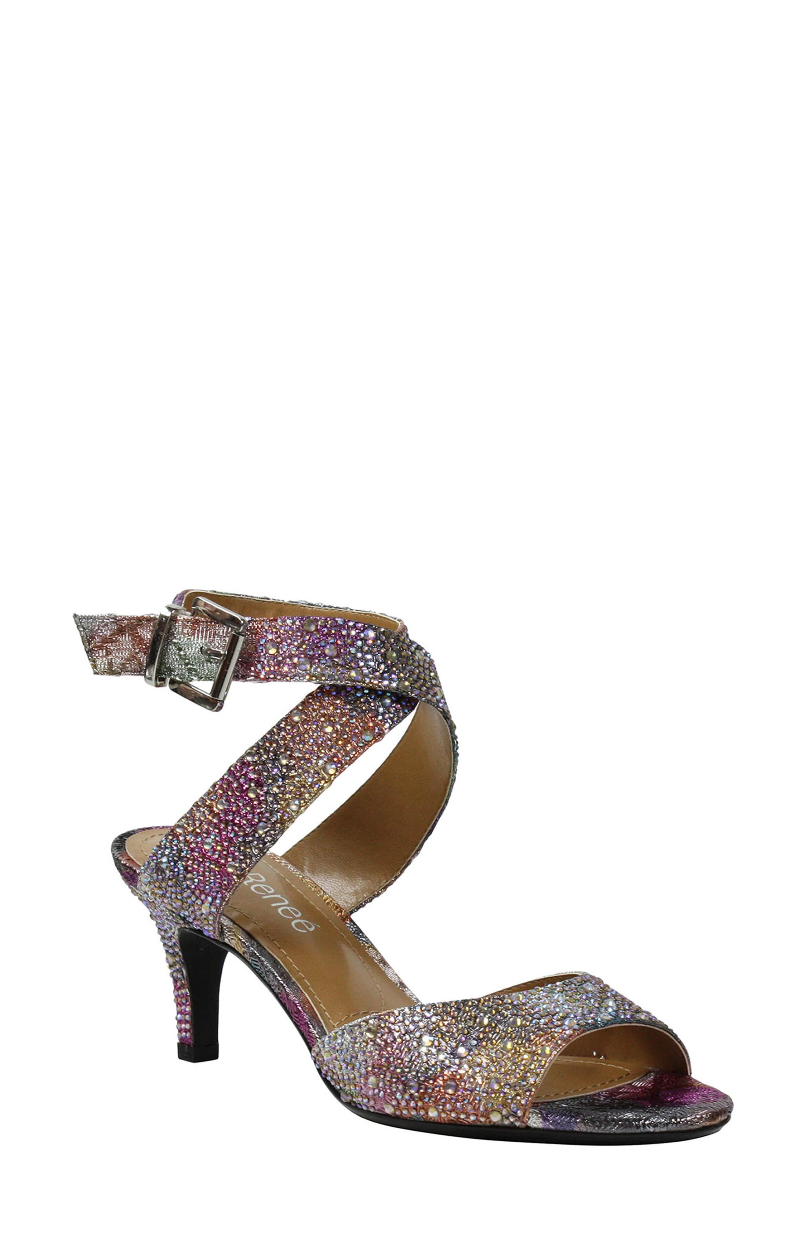 'Soncino' Ankle Strap Sandal,                             Main thumbnail 1, color,                             SILVER/ PASTEL FABRIC