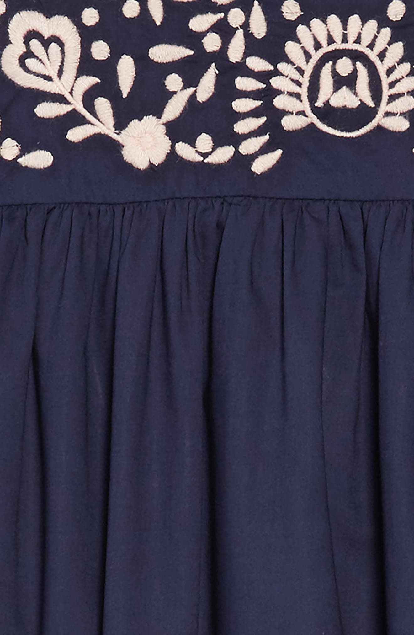 Embroidered Dress,                             Alternate thumbnail 3, color,                             NAVY PEACOAT
