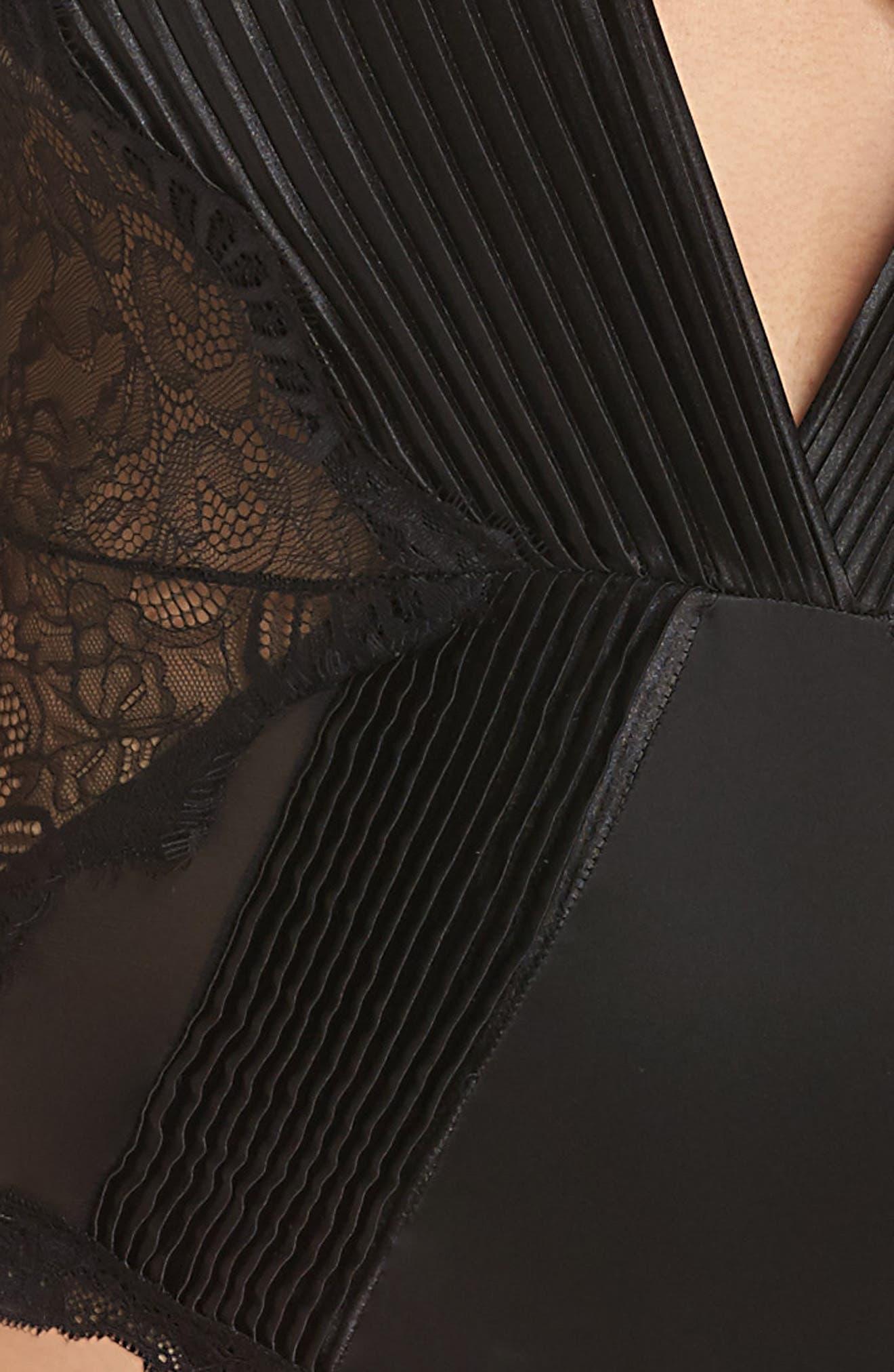 Nicolette Plunge Lace Bodysuit,                             Alternate thumbnail 4, color,                             BLACK