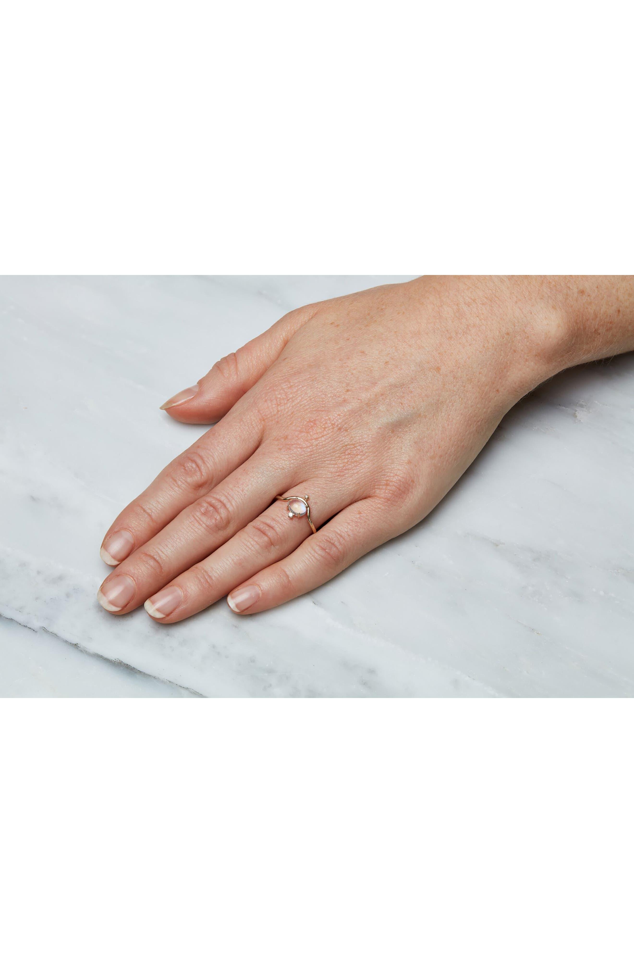 WWAKE,                             Nestled Moonstone & Diamond Ring,                             Alternate thumbnail 3, color,                             710