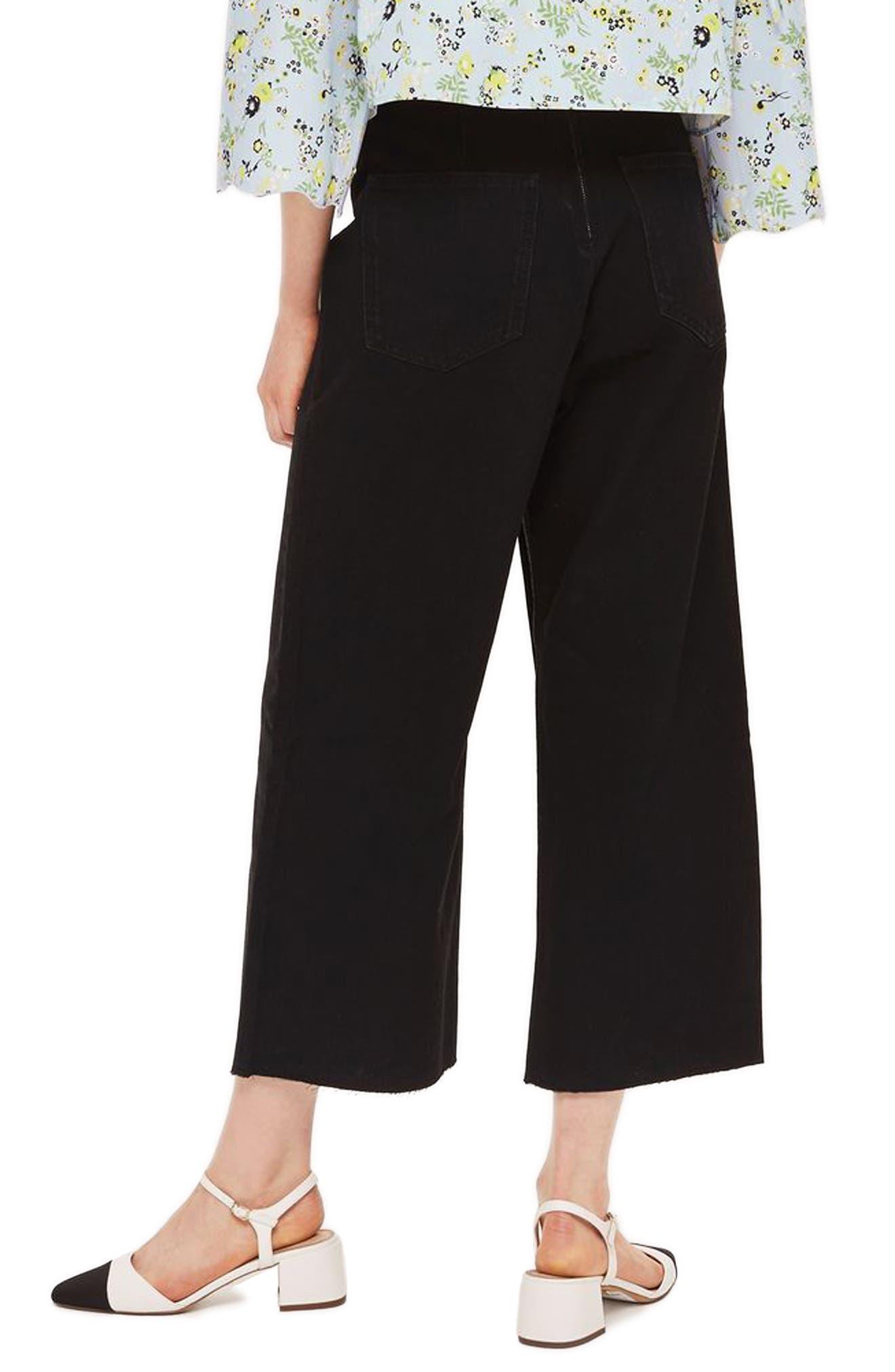 Lace-Up Wide Leg Crop Jeans,                             Alternate thumbnail 2, color,