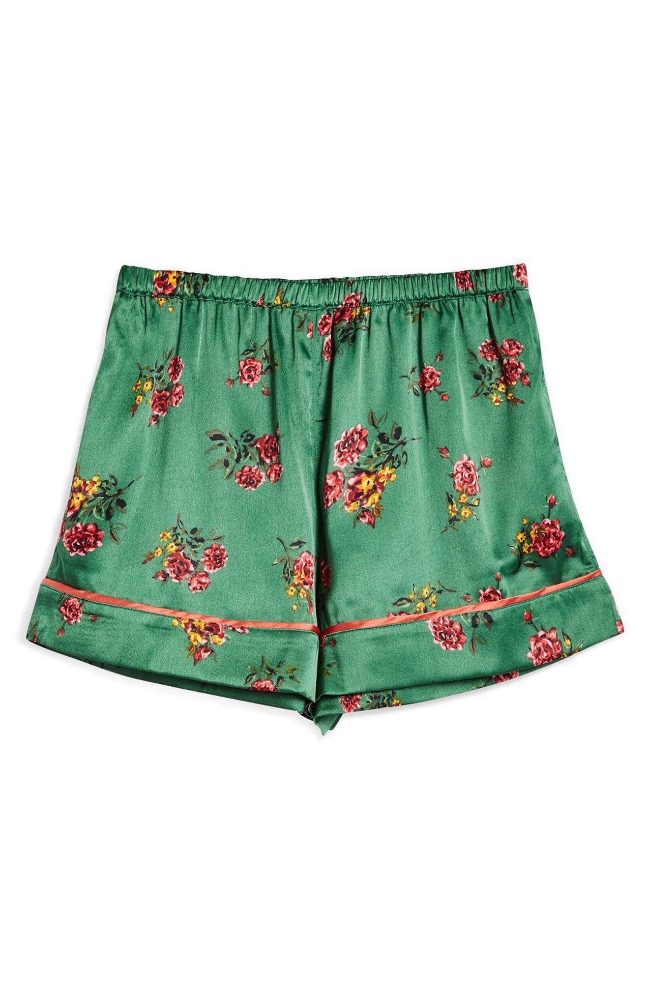 Floral Print Pajama Shorts,                             Alternate thumbnail 3, color,                             320
