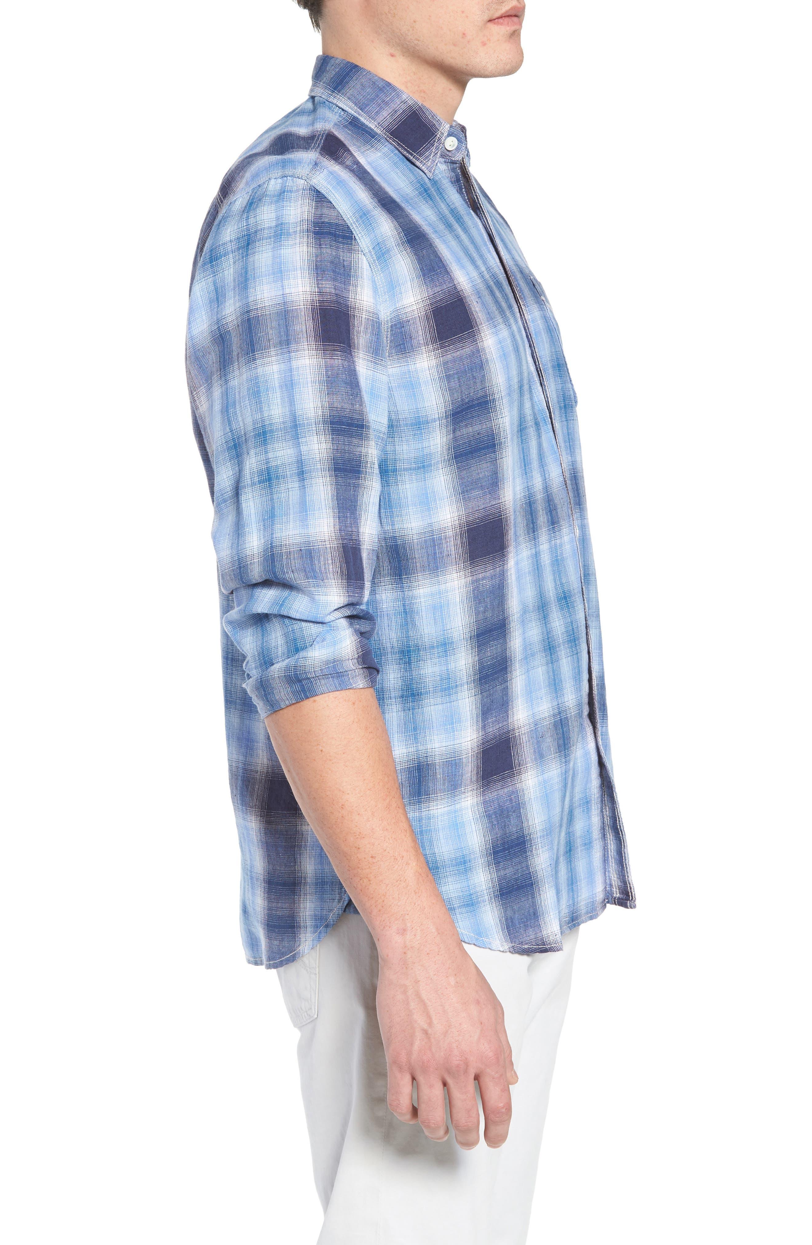 Trestles Linen & Cotton Sport Shirt,                             Alternate thumbnail 3, color,