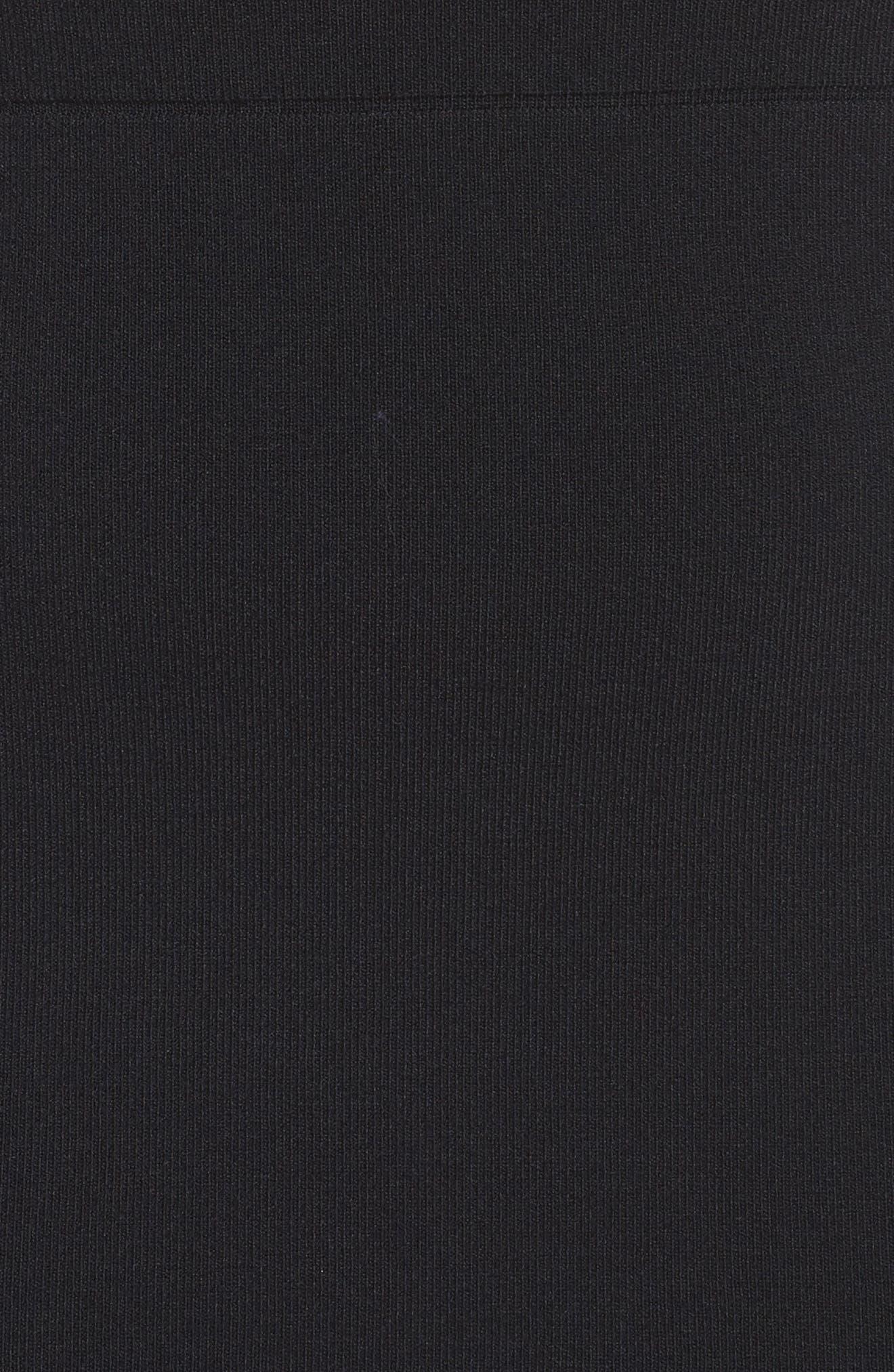 Sheer Inset Knit Sheath Dress,                             Alternate thumbnail 5, color,                             001