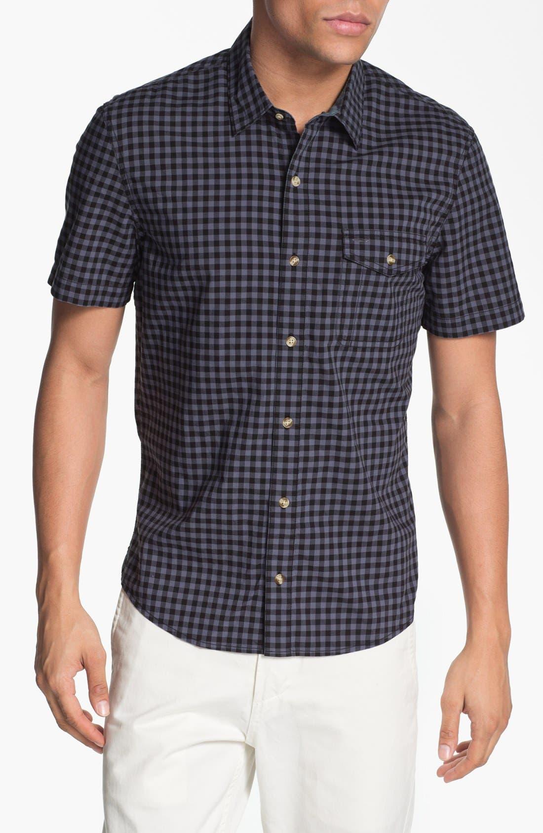Plaid Short Sleeve Woven Shirt,                             Main thumbnail 1, color,                             001