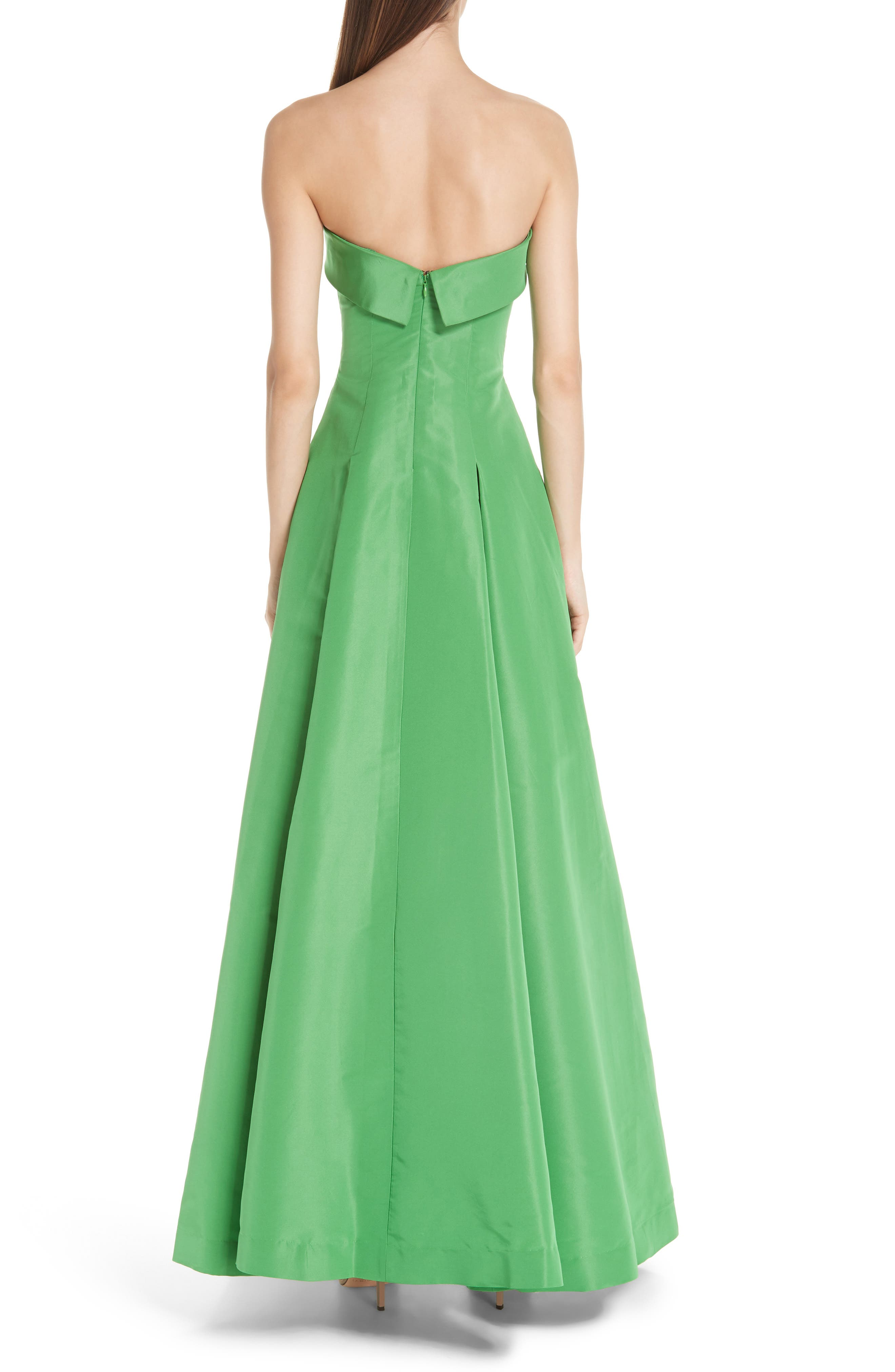 Foldover Strapless Ballgown,                             Alternate thumbnail 2, color,                             KELLY GREEN