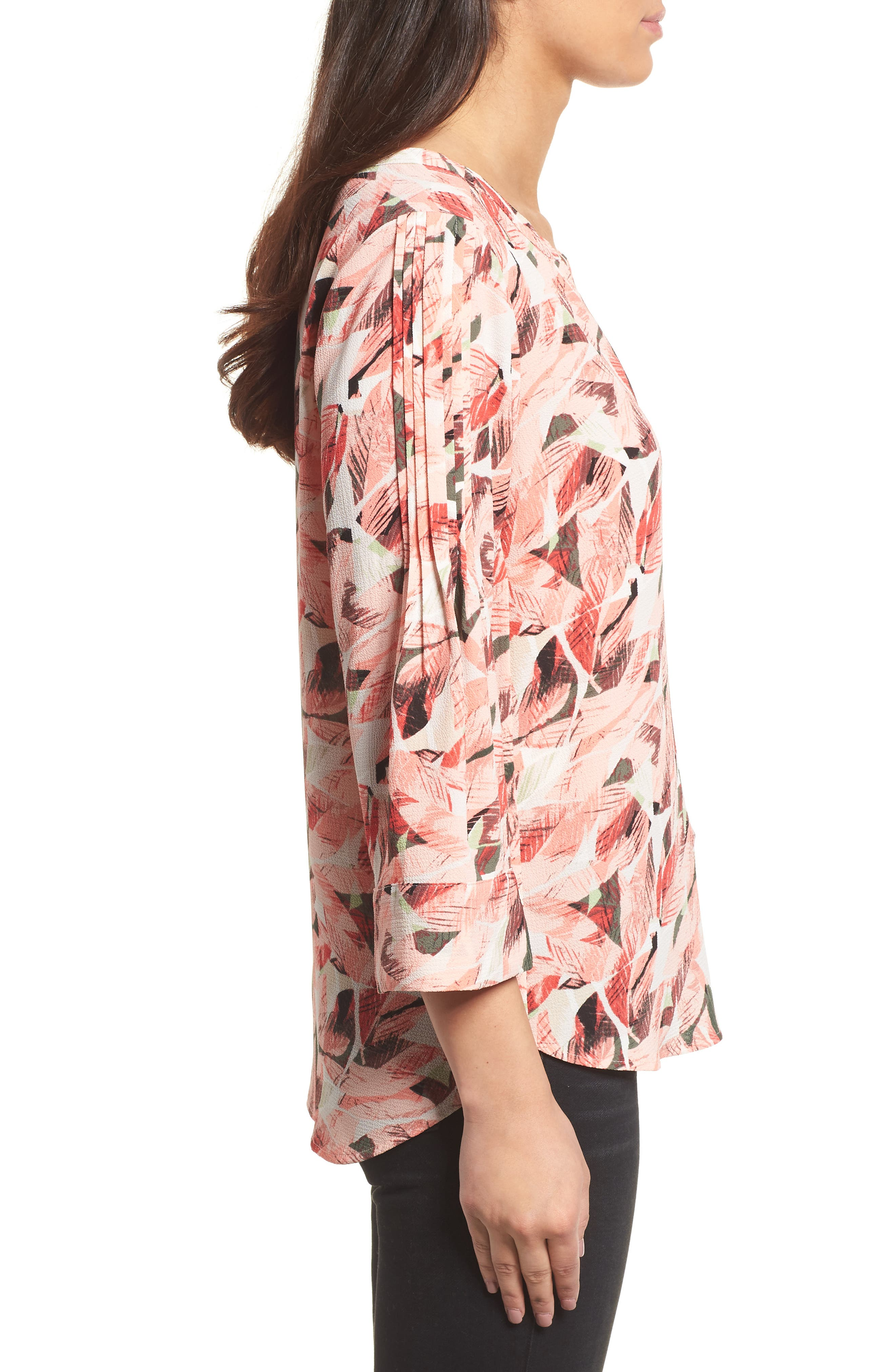 Tropical Print Pleated Sleeve Top,                             Alternate thumbnail 3, color,                             650