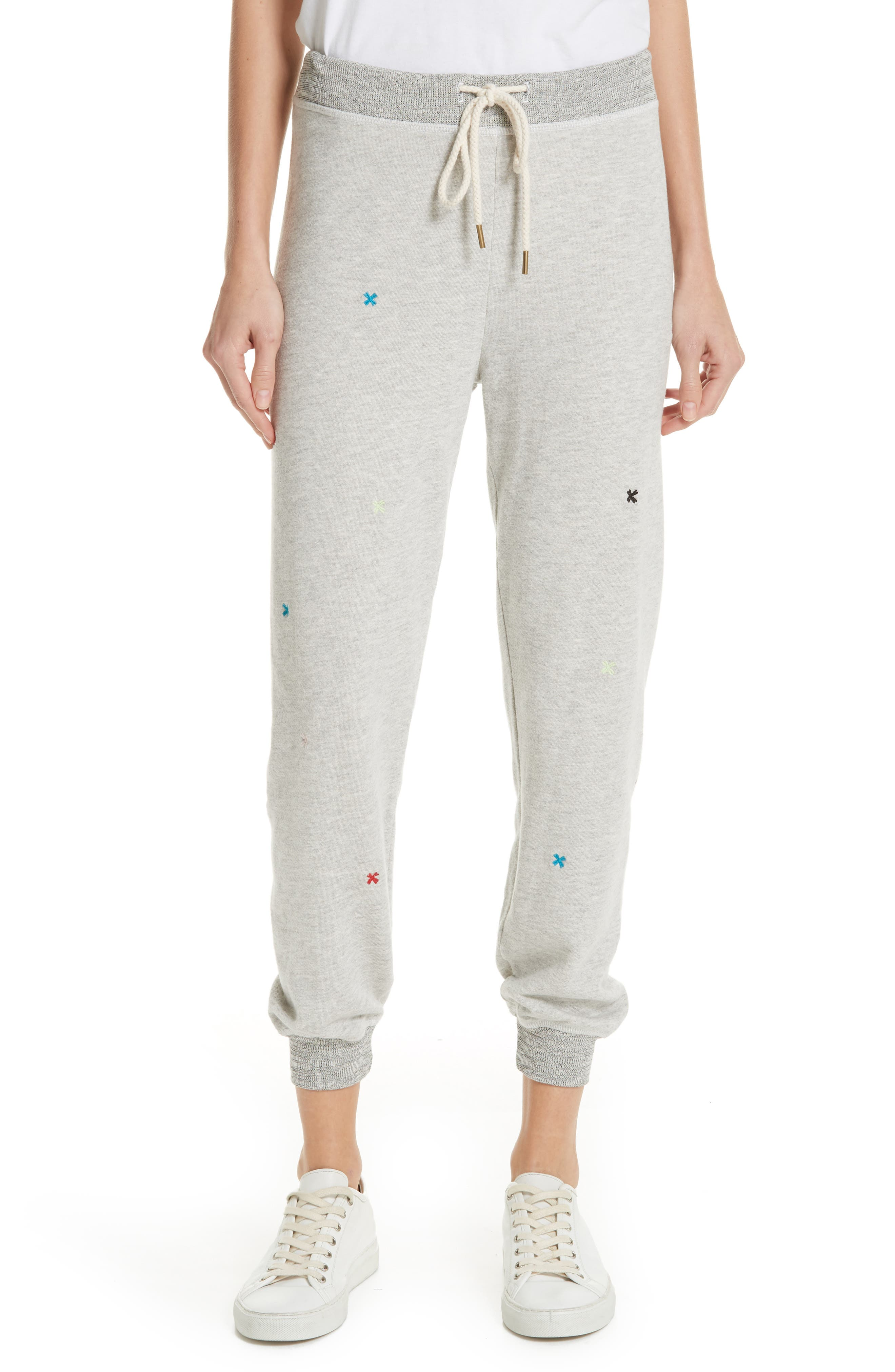 The Cropped Sweatpants,                             Main thumbnail 1, color,                             HEATHER GREY/ MULTI