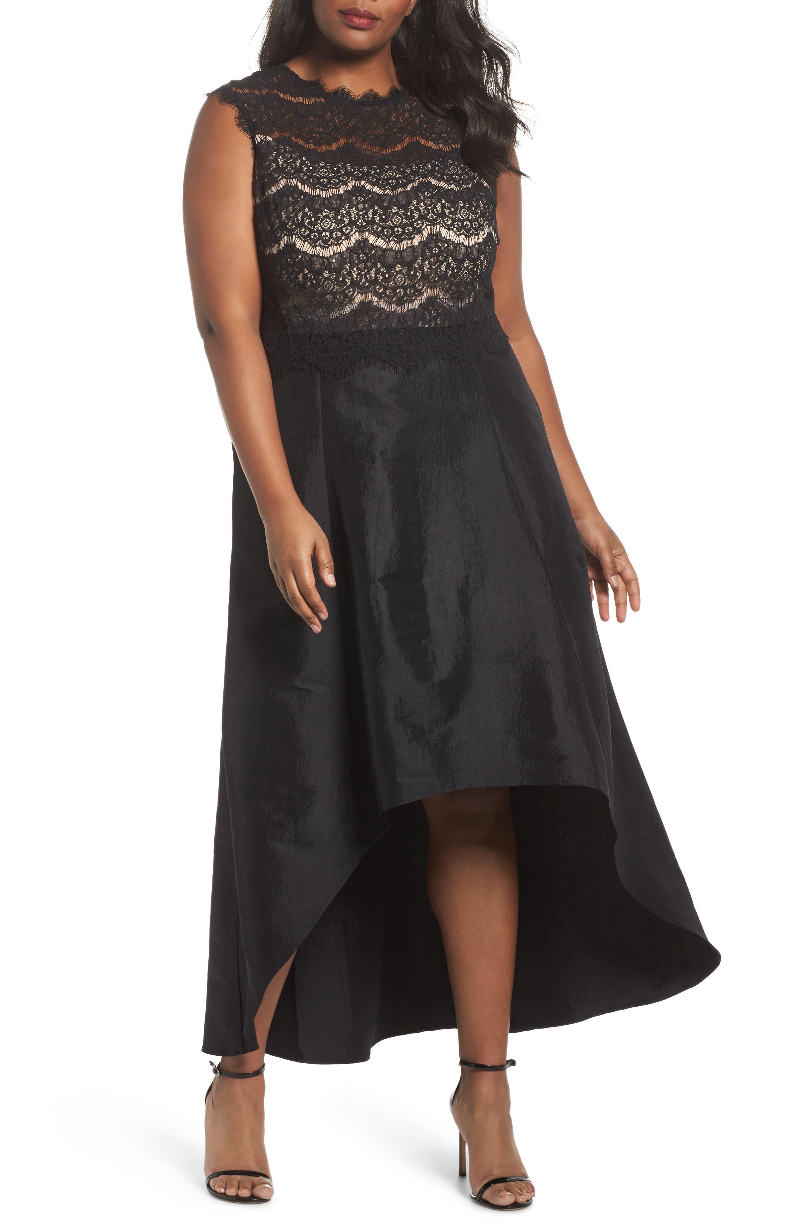 Lace & Taffeta Gown,                         Main,                         color, BLACK