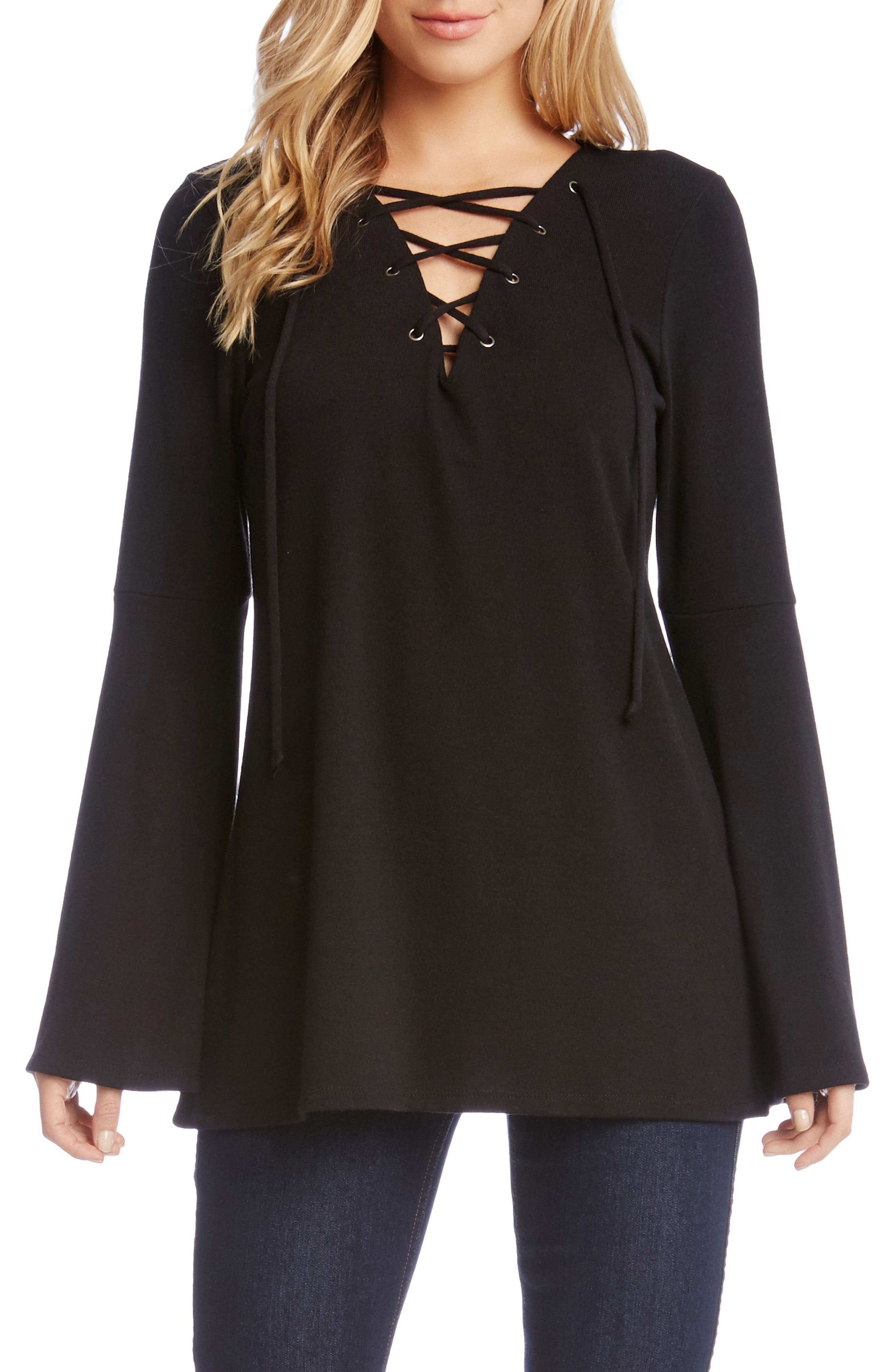 Bell Sleeve Lace-Up Top,                             Main thumbnail 1, color,                             001