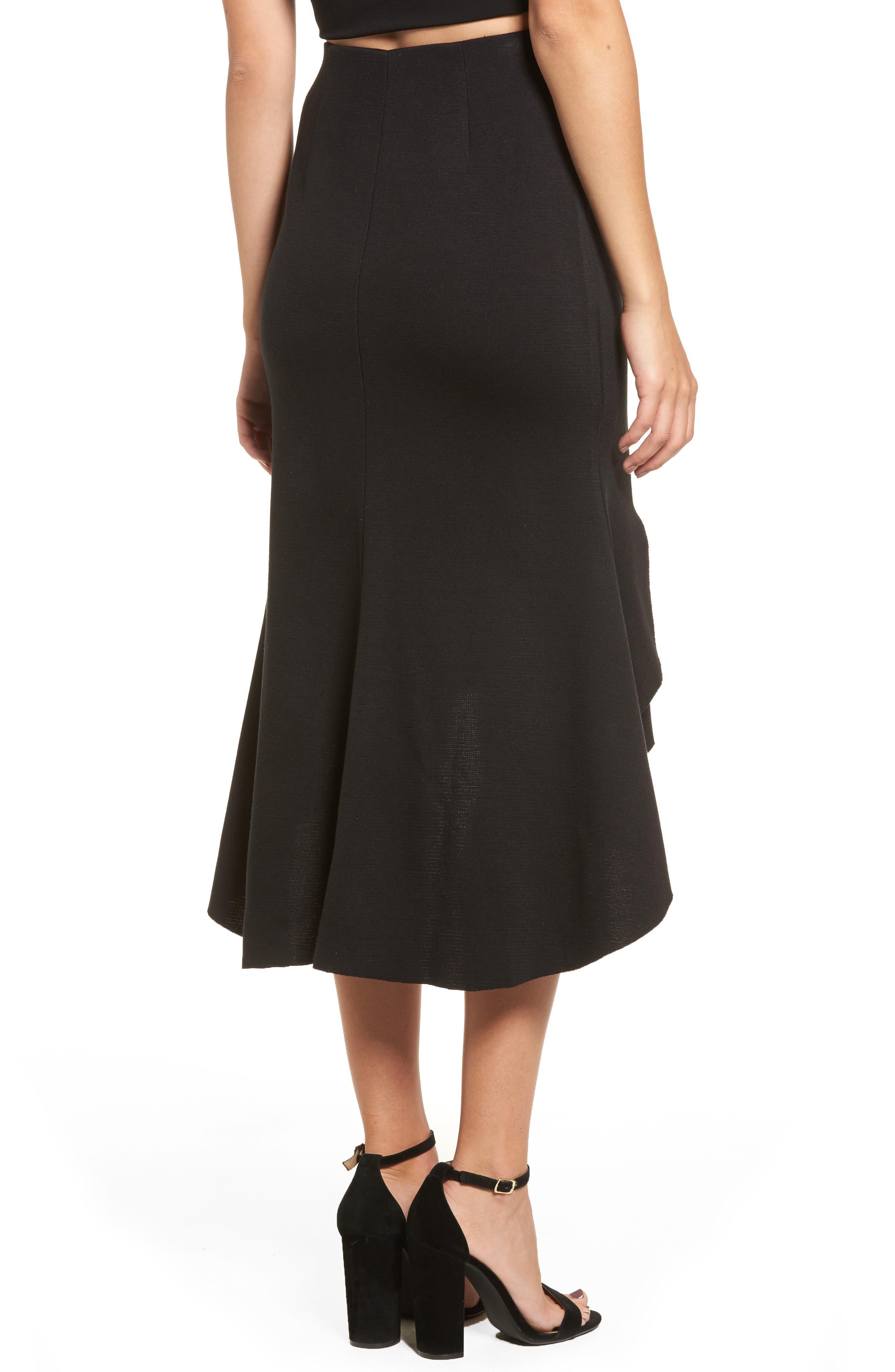 Ruffle High/Low Skirt,                             Alternate thumbnail 2, color,                             001
