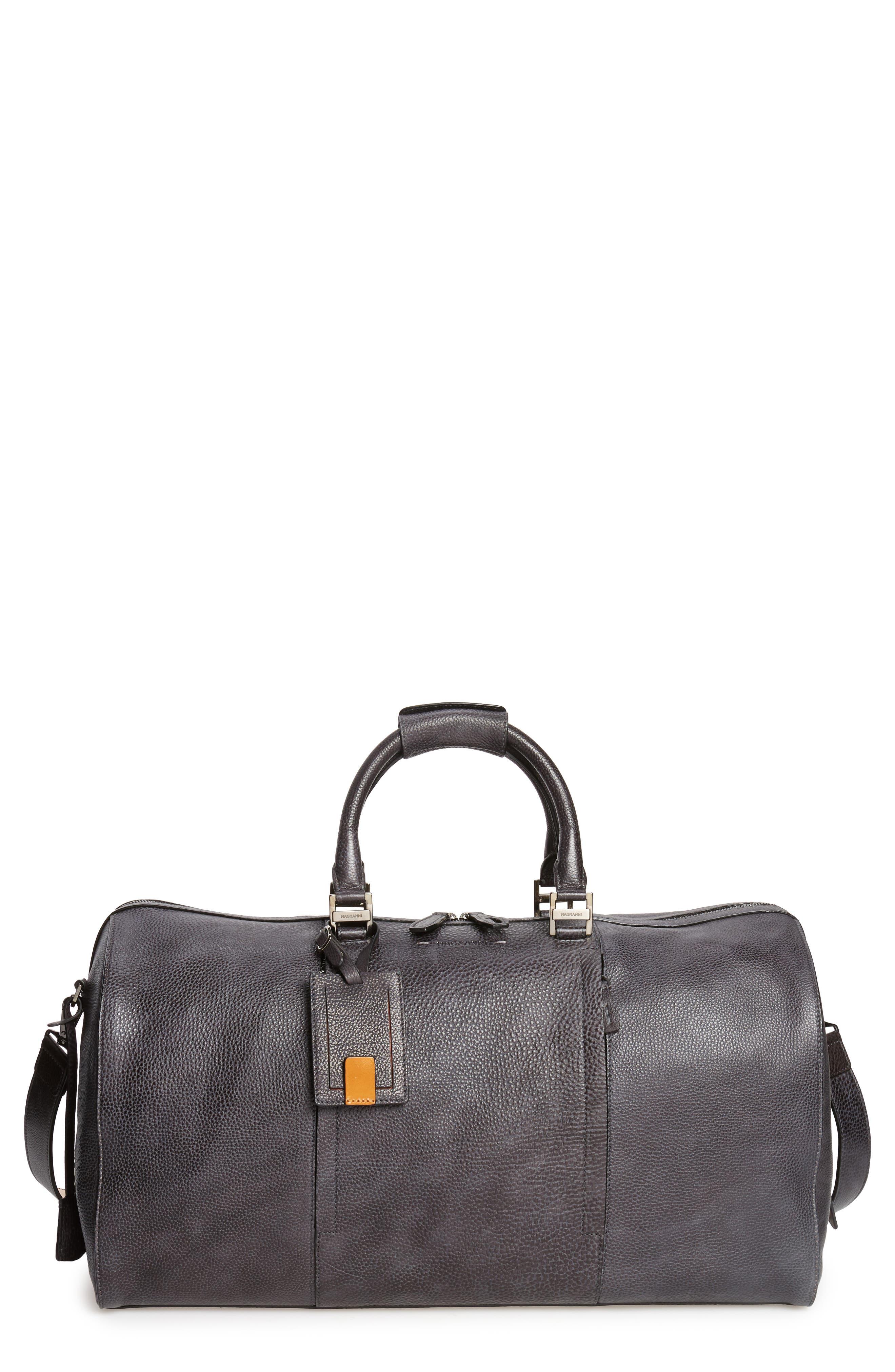 Traveler Leather Duffel Bag,                             Main thumbnail 1, color,                             020