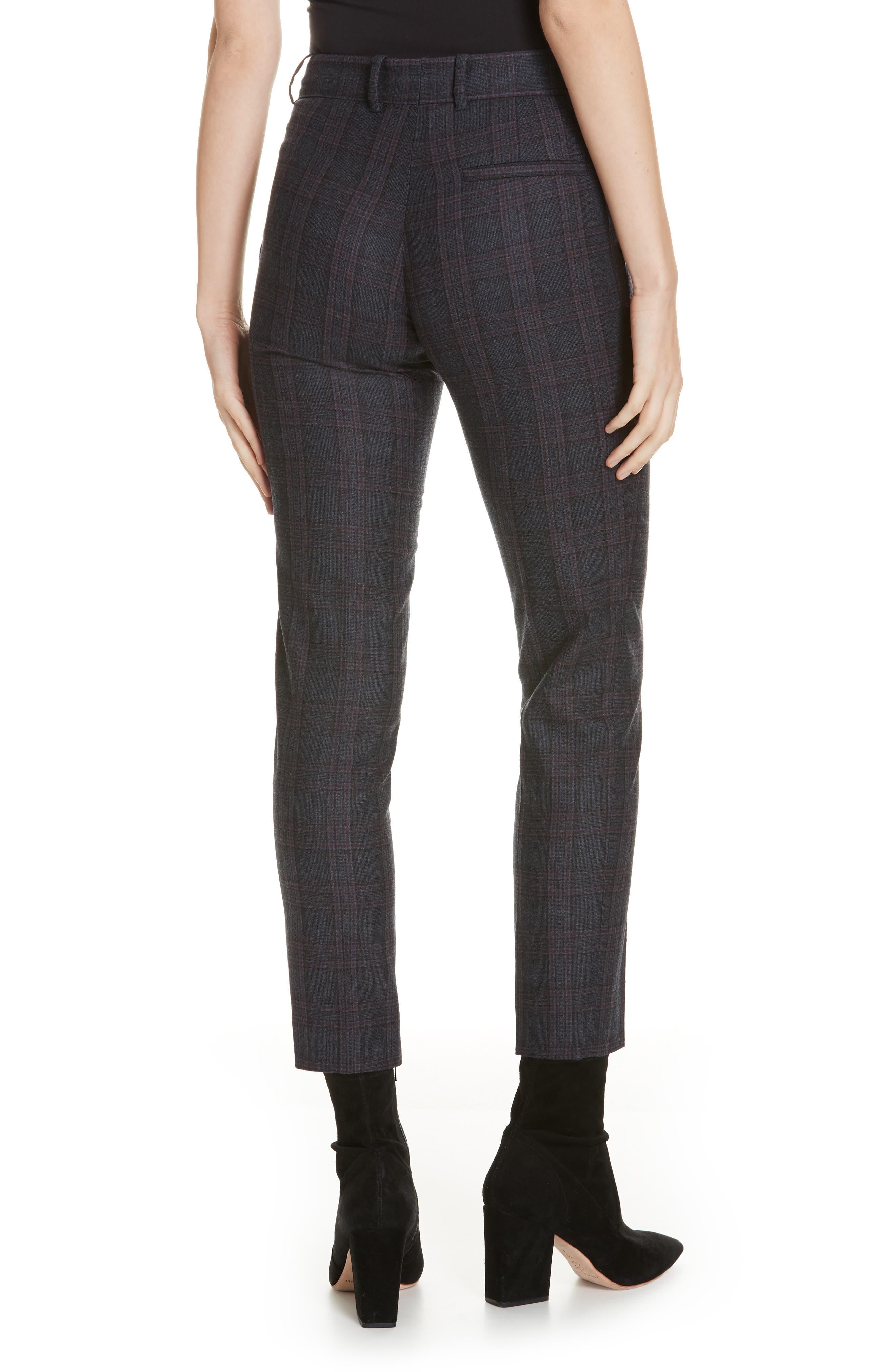 Plaid Stretch Wool Blend Pants,                             Alternate thumbnail 2, color,                             BLUE