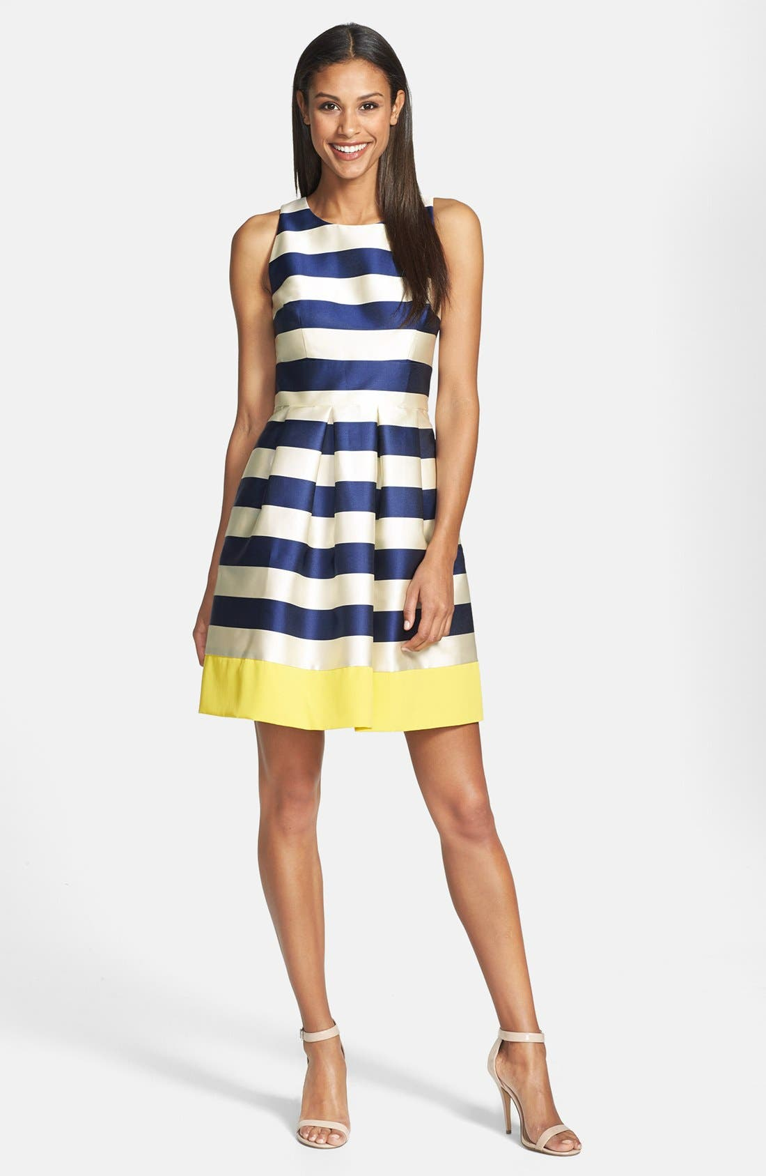 ELIZA J,                             Stripe Fit & Flare Dress,                             Main thumbnail 1, color,                             410