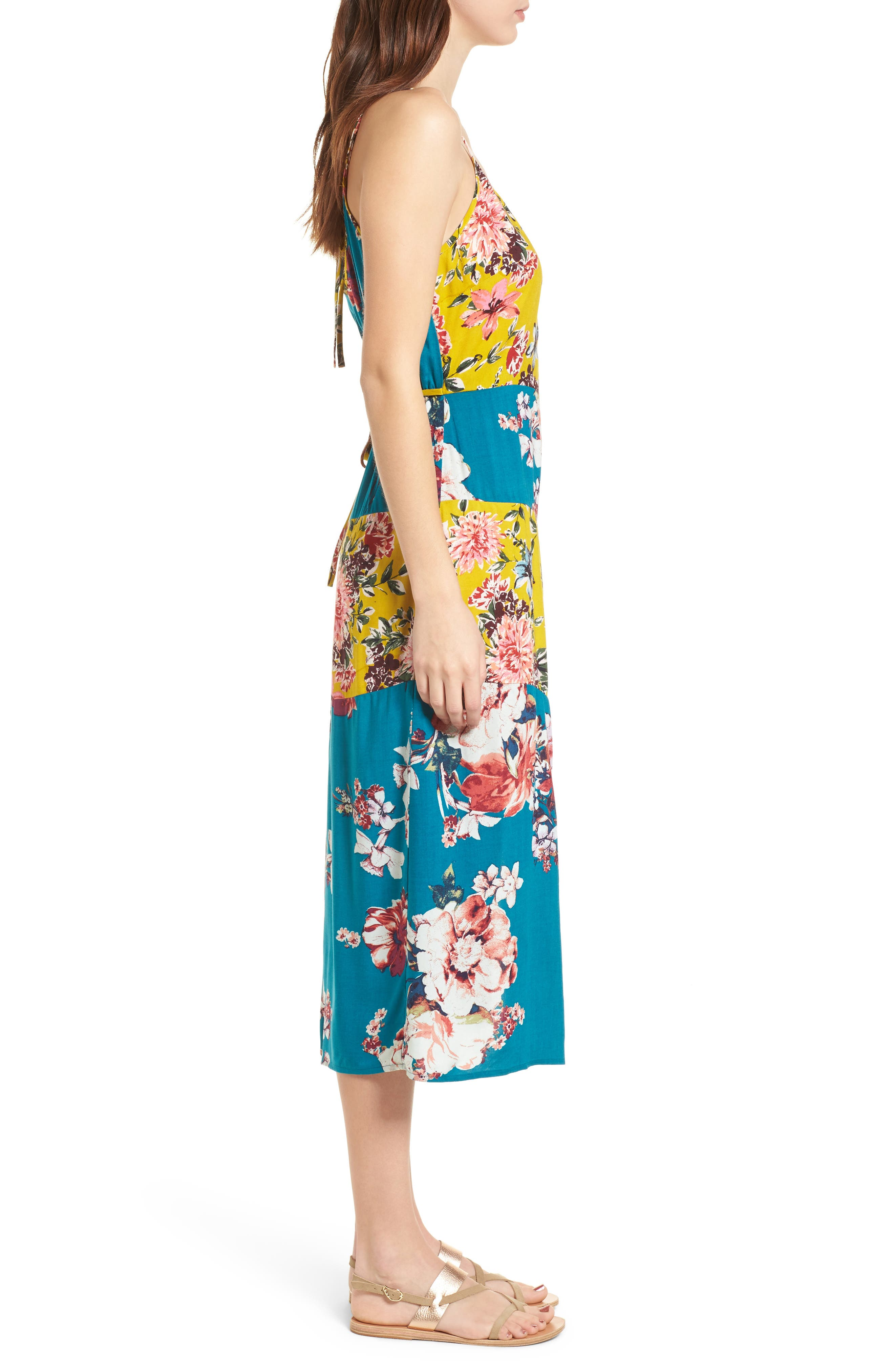 Mix Floral Midi Dress,                             Alternate thumbnail 3, color,                             403