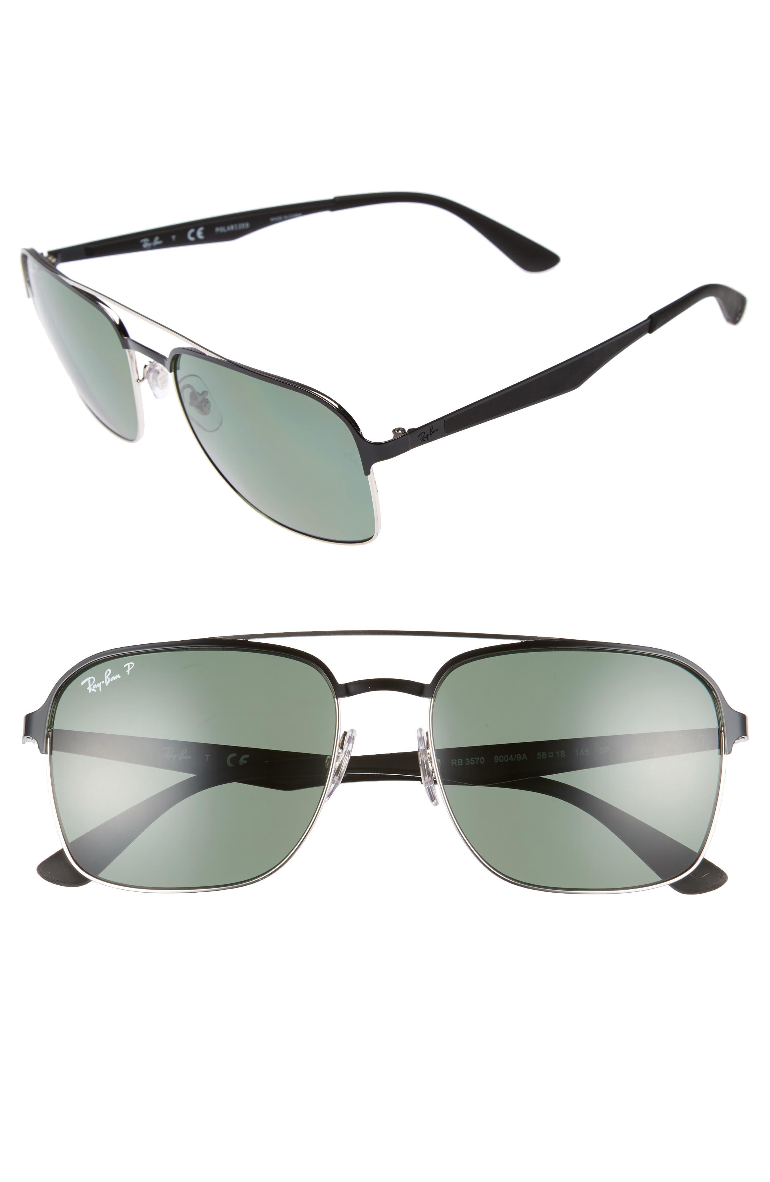58mm Polarized Sunglasses,                         Main,                         color, BLACK SILVER