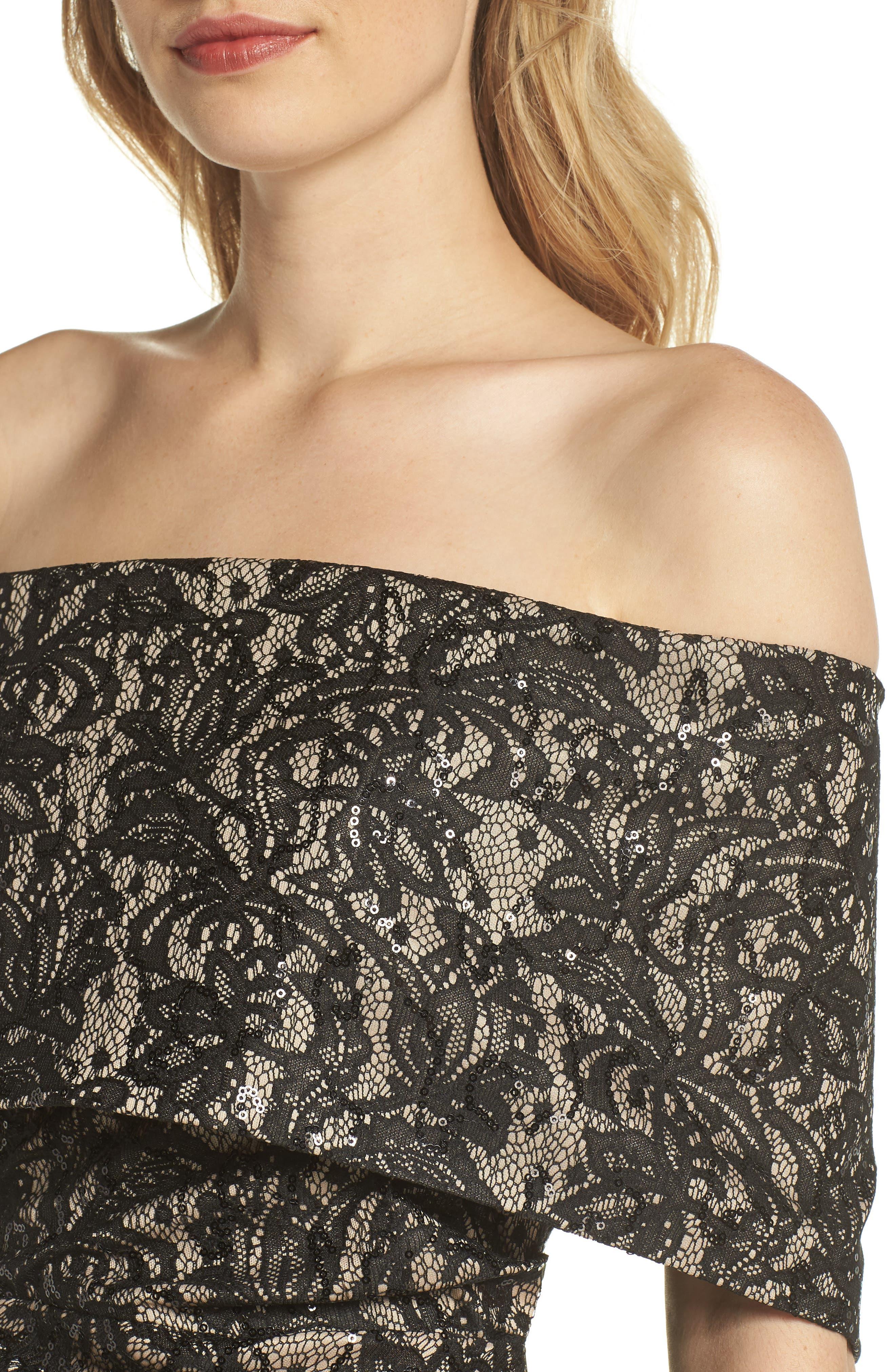 Off the Shoulder Lace Sheath Dress,                             Alternate thumbnail 4, color,                             BLACK TAN