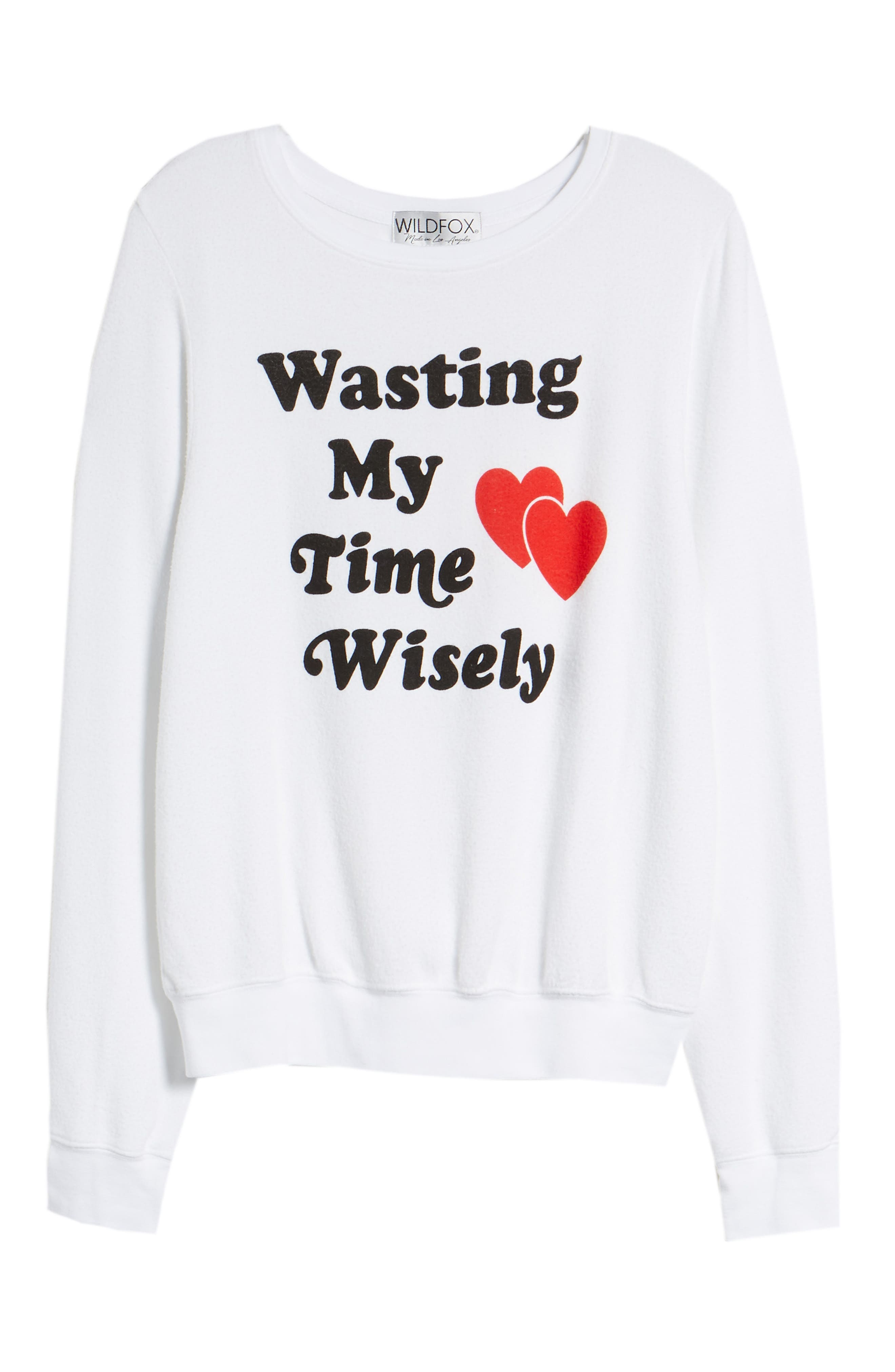 Wasting My Time Wisely Baggy Beach Sweatshirt,                             Alternate thumbnail 7, color,                             100