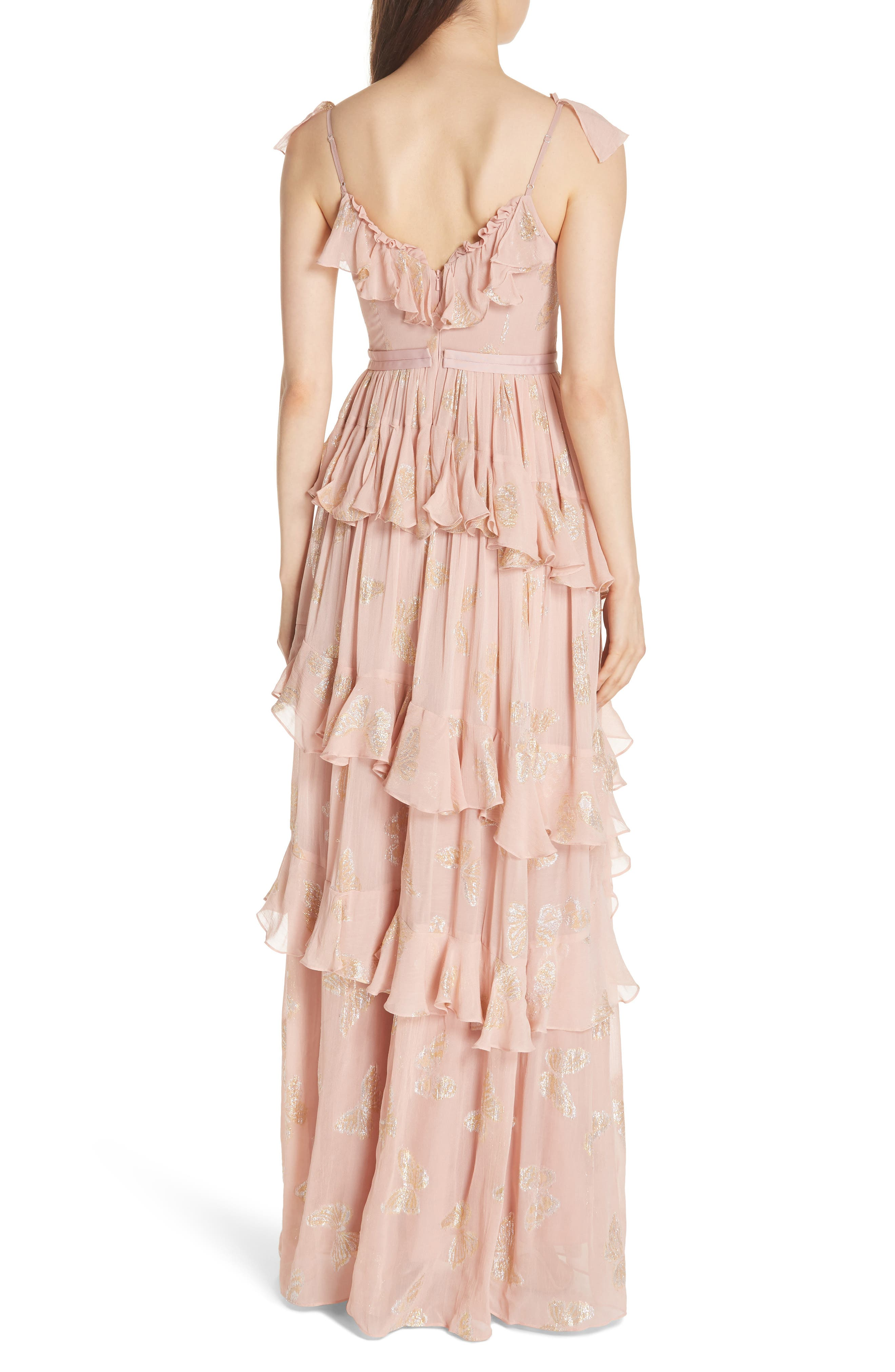 Ruffled Lurex<sup>®</sup> Butterfly Gown,                             Alternate thumbnail 2, color,                             VINTAGE ROSE