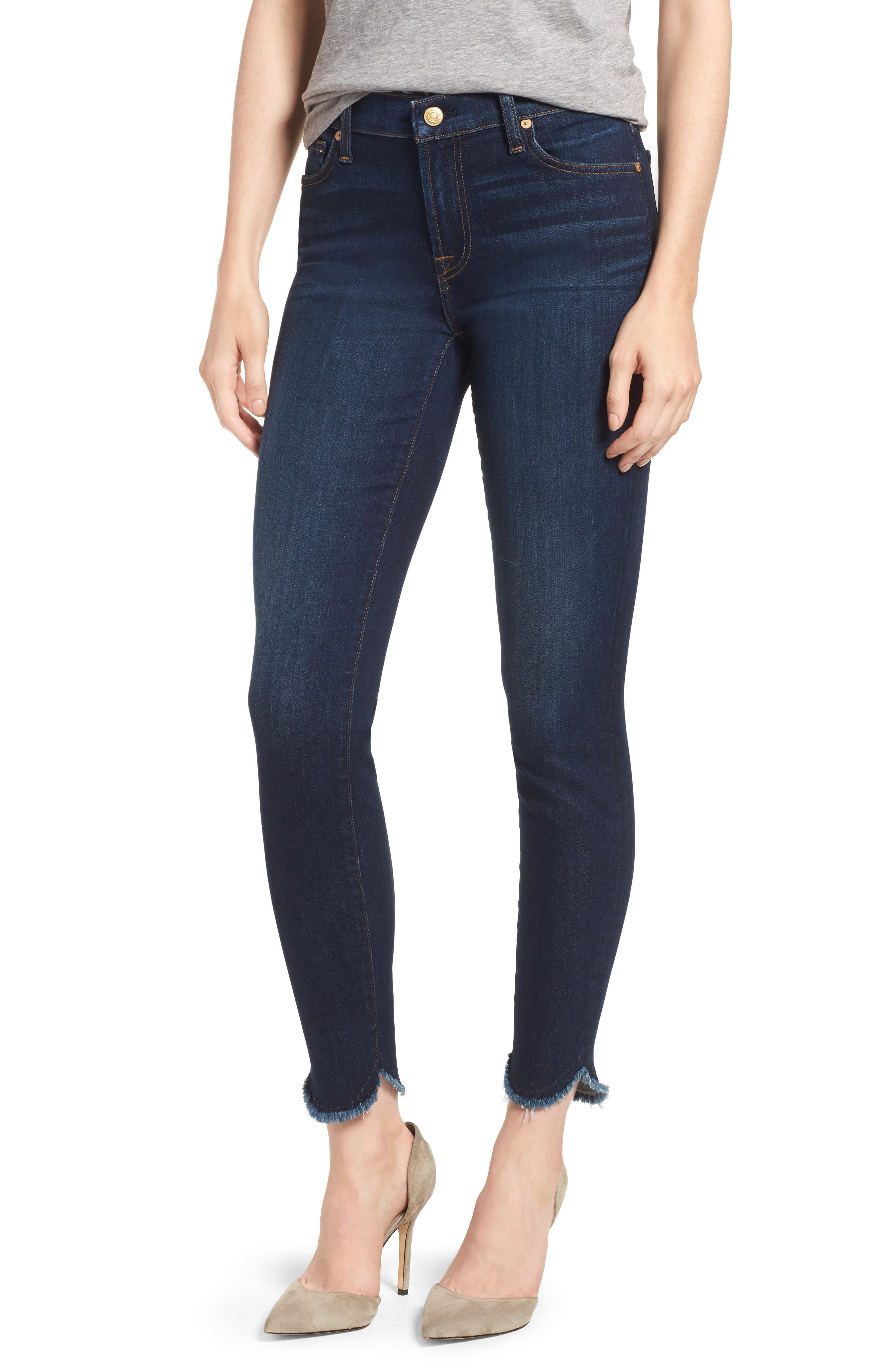 Scallop Hem Ankle Skinny Jeans, Main, color, MIDNIGHT MOON