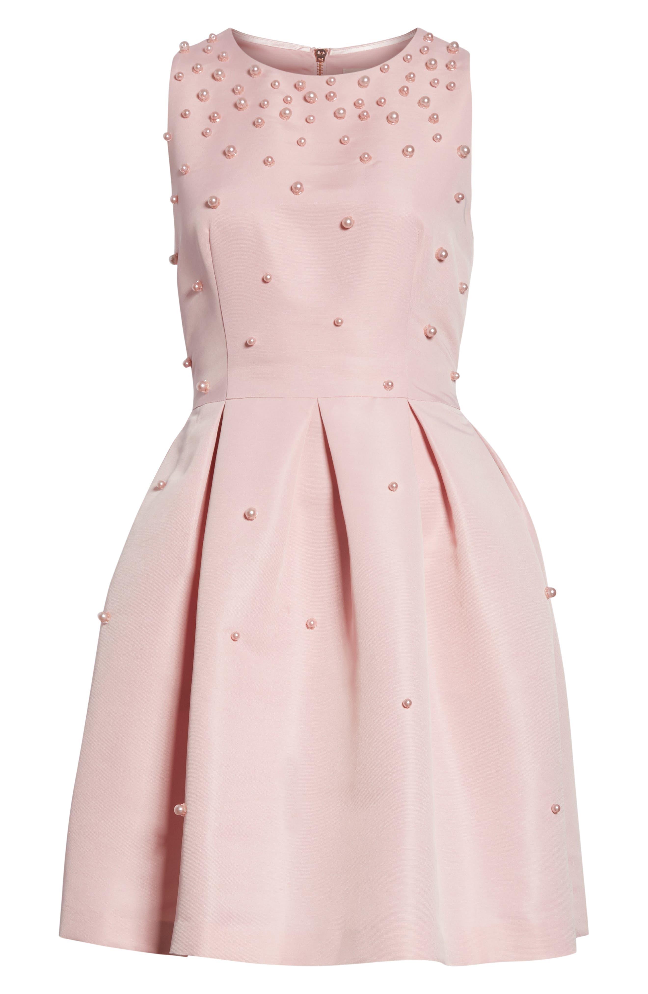 Embellished Skater Dress,                             Alternate thumbnail 18, color,
