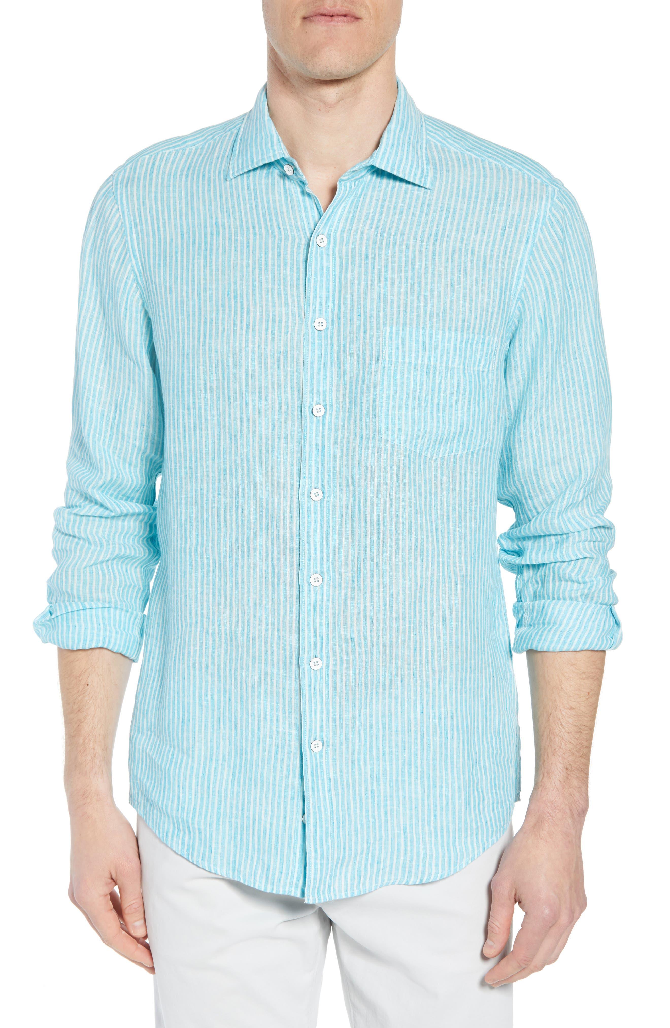 Warwick Junction Stripe Linen Sport Shirt,                         Main,                         color, TEAL