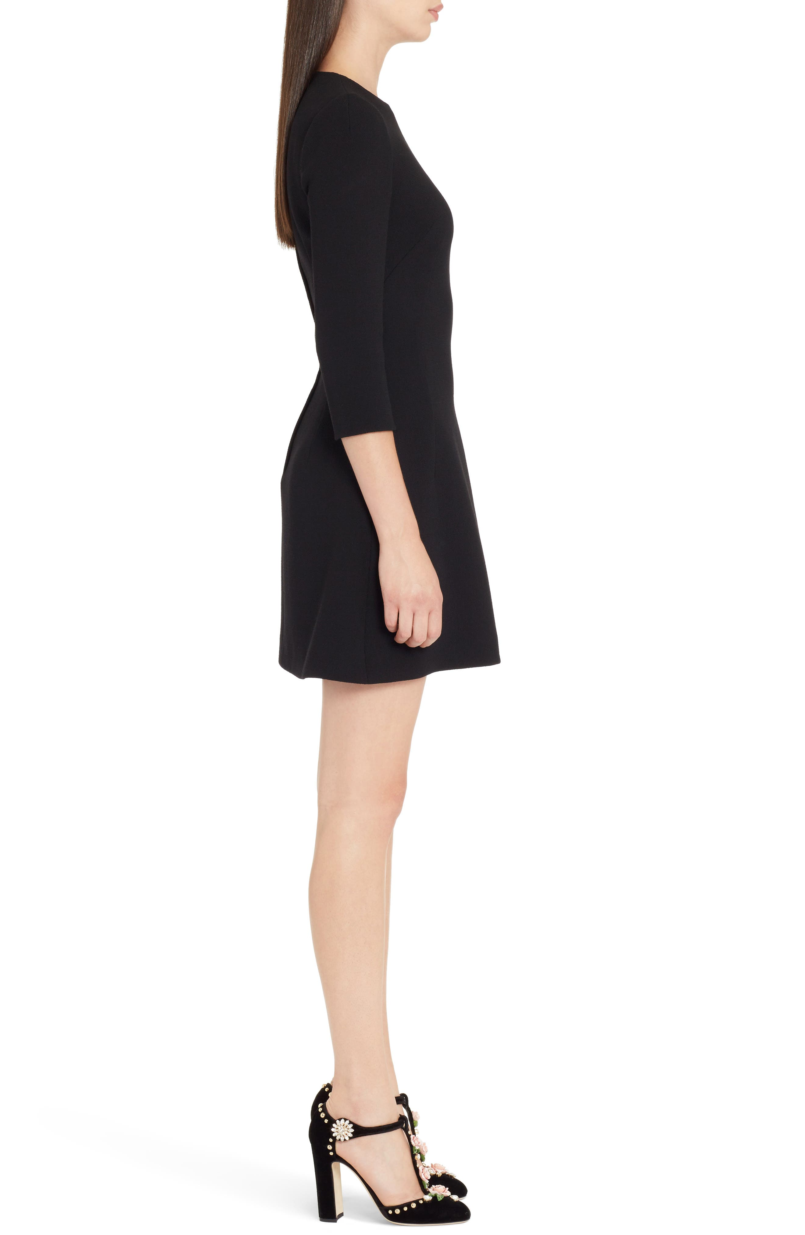 Heart Patch Wool Crepe Dress,                             Alternate thumbnail 3, color,                             BLACK