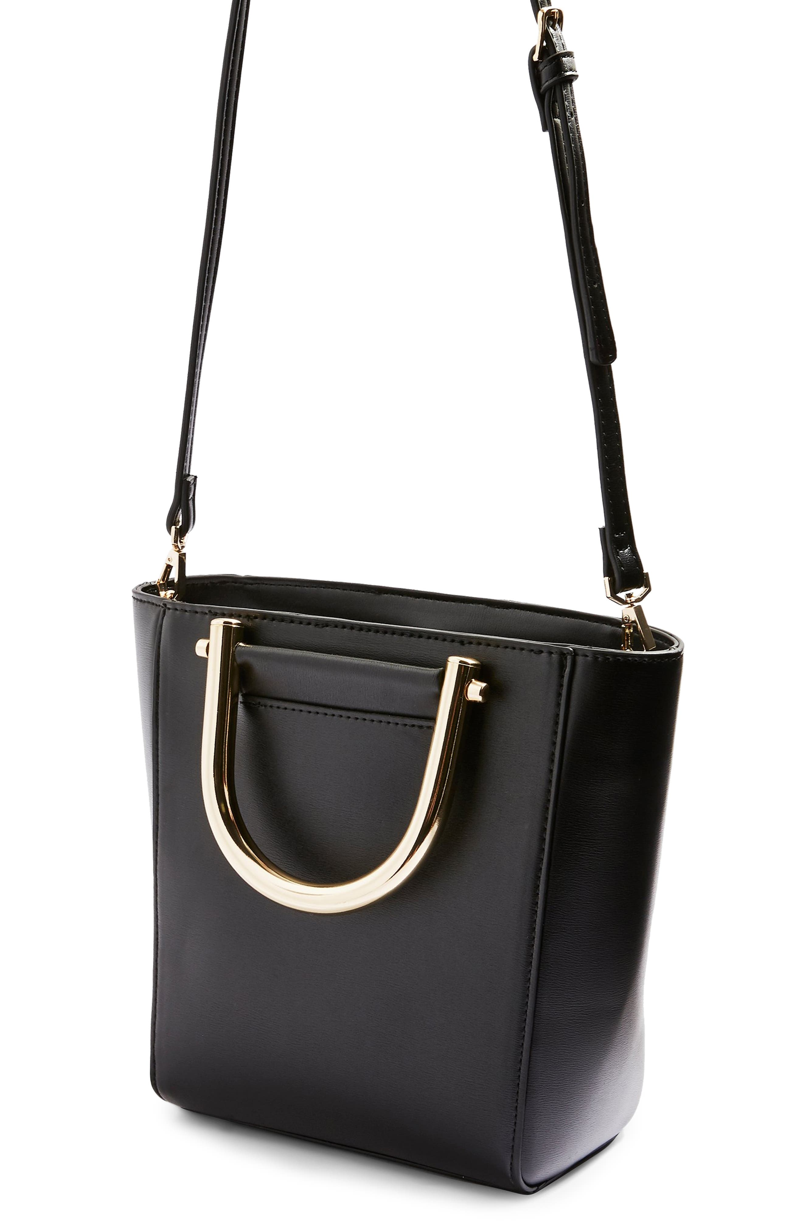 TOPSHOP,                             Lacey Metal Top Handle Shoulder Bag,                             Alternate thumbnail 3, color,                             001