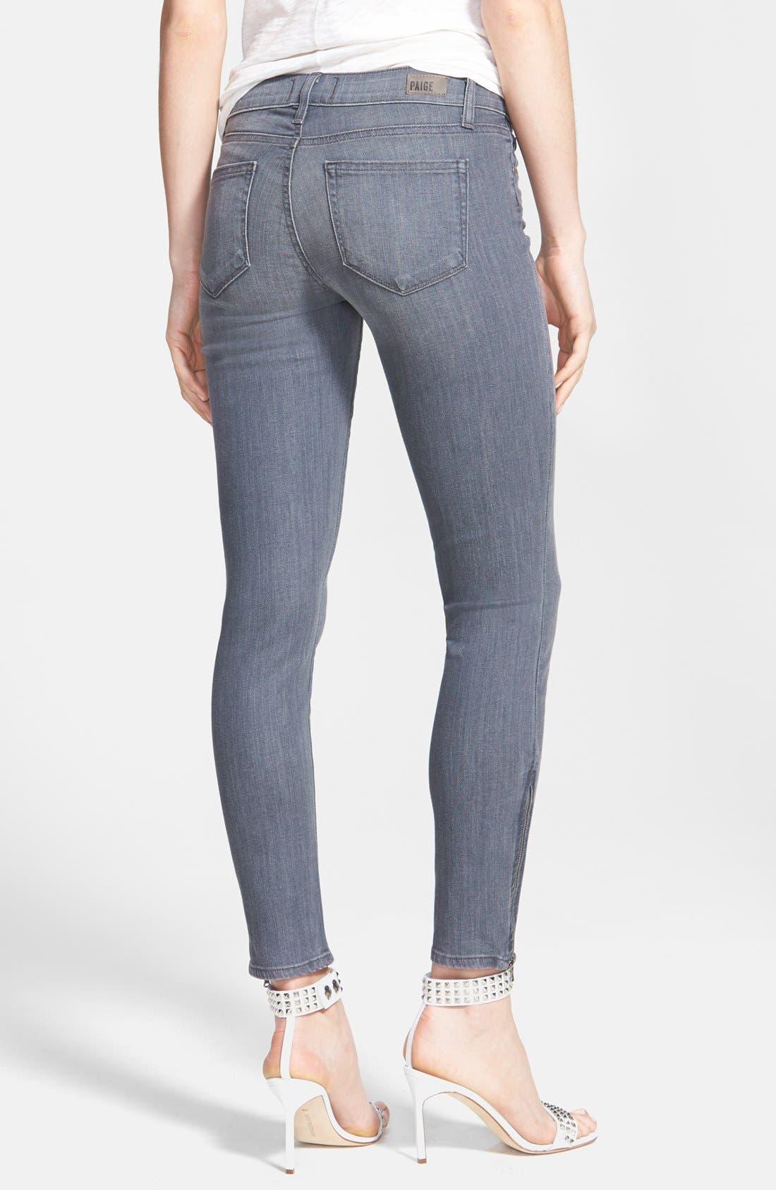 Denim 'Verdugo' Zip Cuff Skinny Ankle Jeans,                             Alternate thumbnail 2, color,                             020