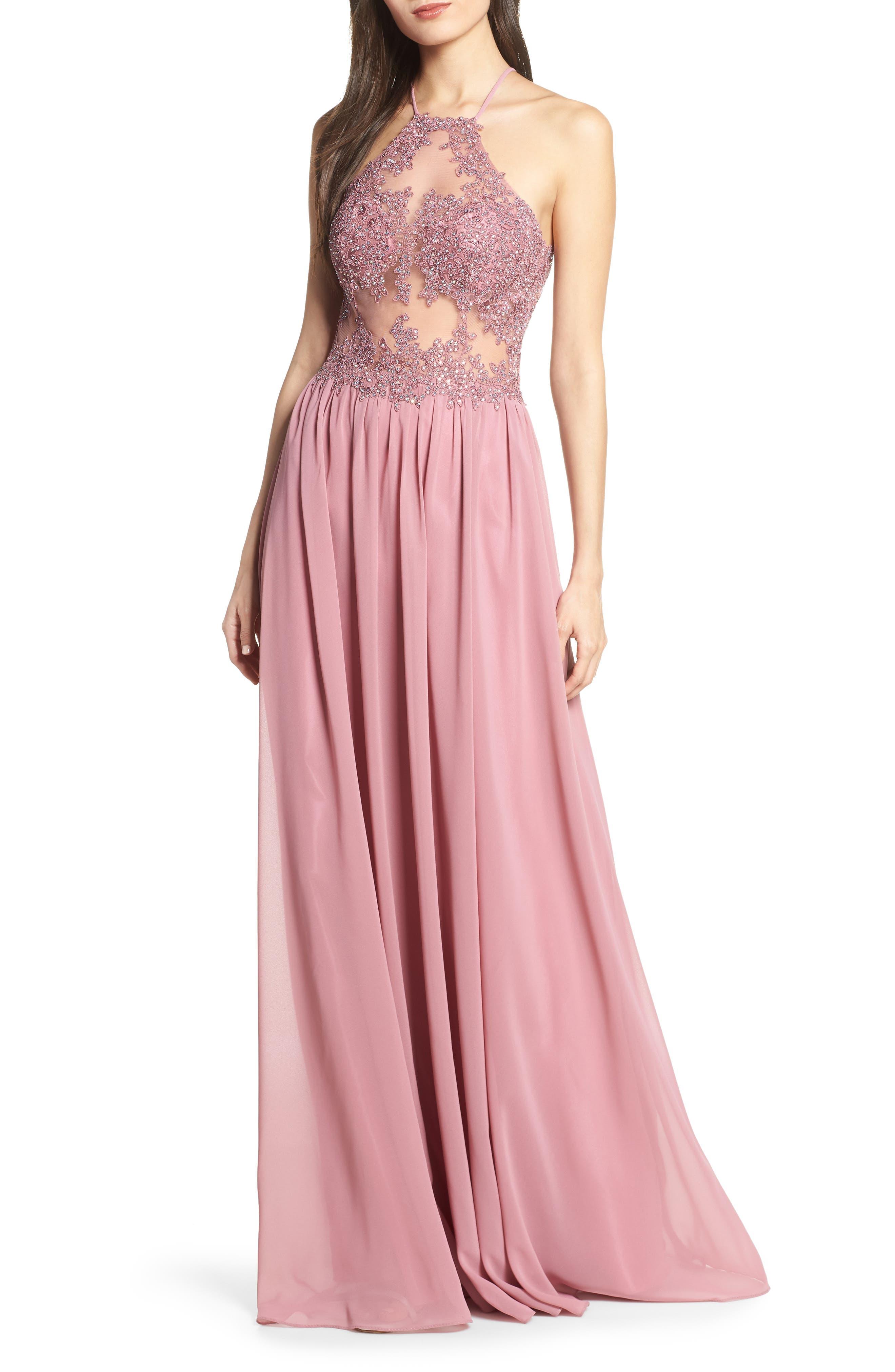 Blondie Nites Embroidered Illusion Halter Bodice Evening Dress, Pink