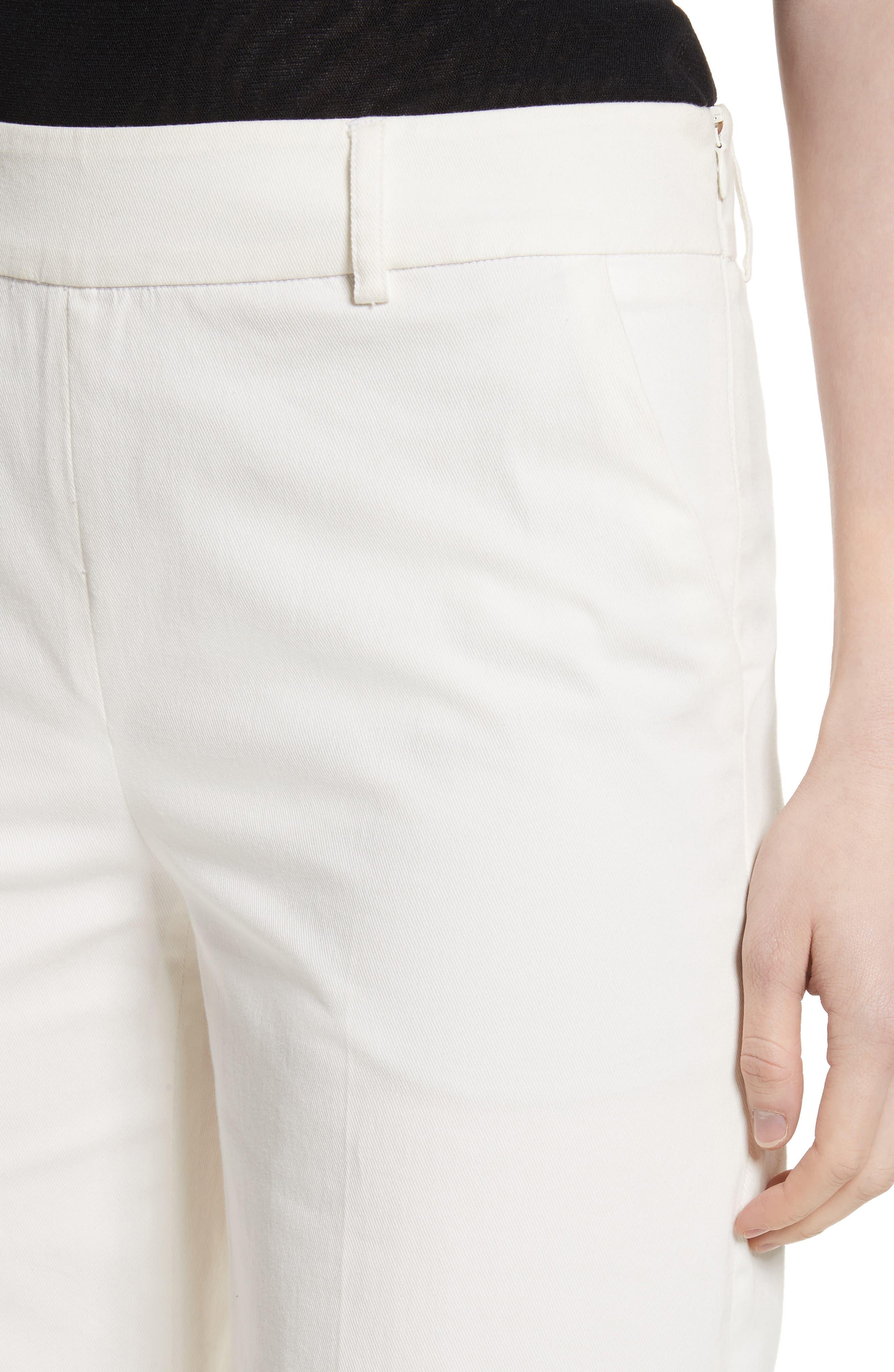 Stretch Cotton Gabardine Crop Wide Leg Pants,                             Alternate thumbnail 4, color,