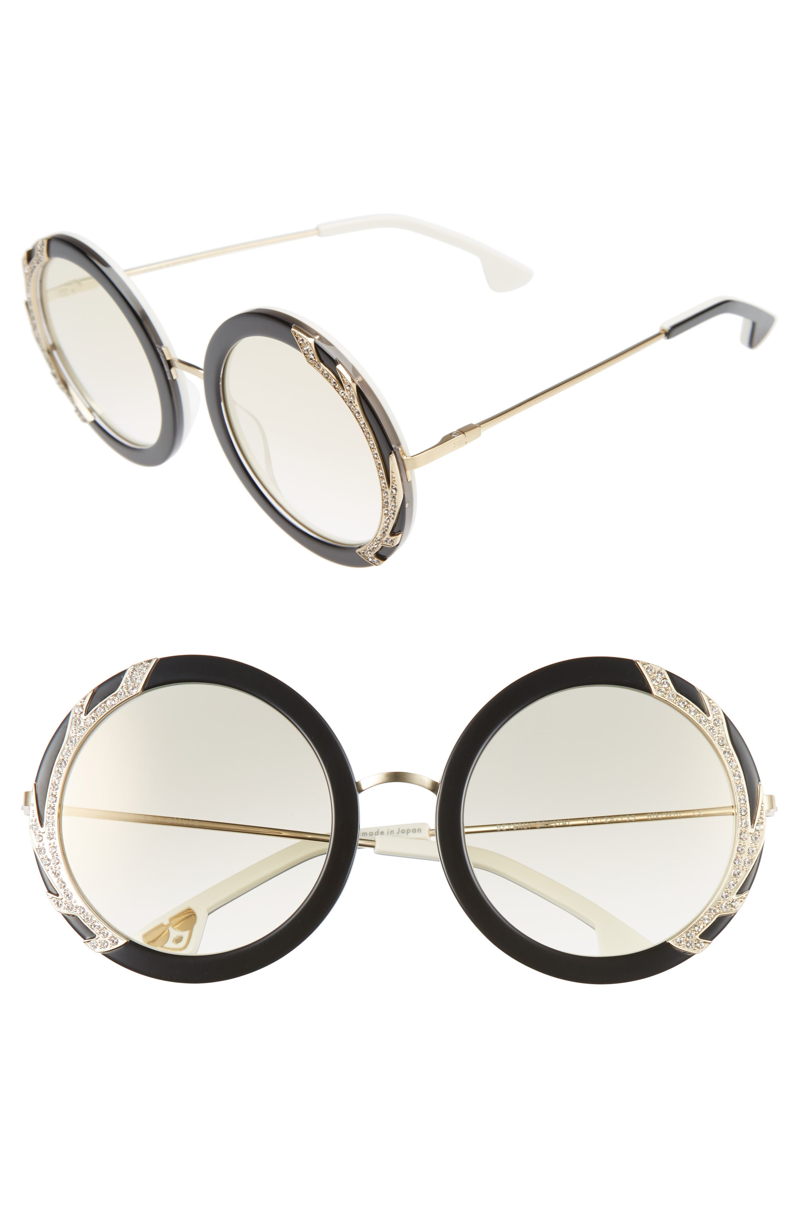 Beverly Crystal 53mm Special Fit Round Sunglasses,                         Main,                         color, 001