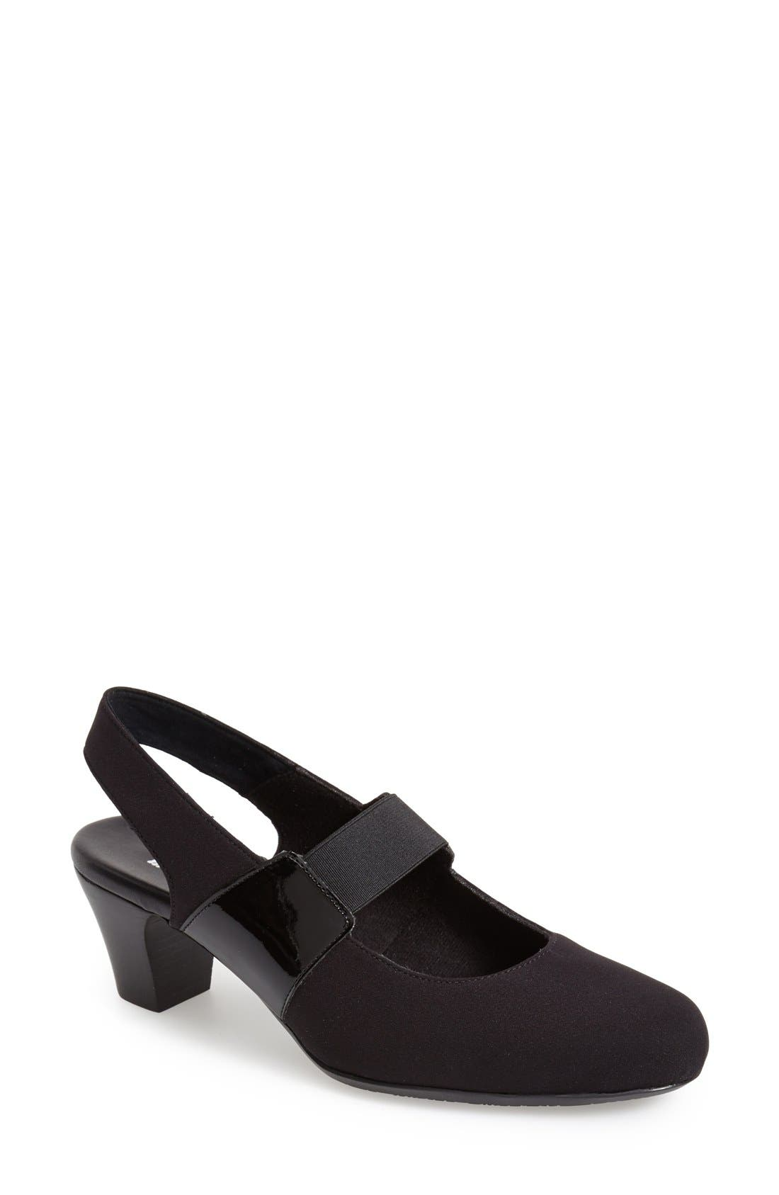 'Ella' Slingback Pump,                             Main thumbnail 1, color,                             BLACK