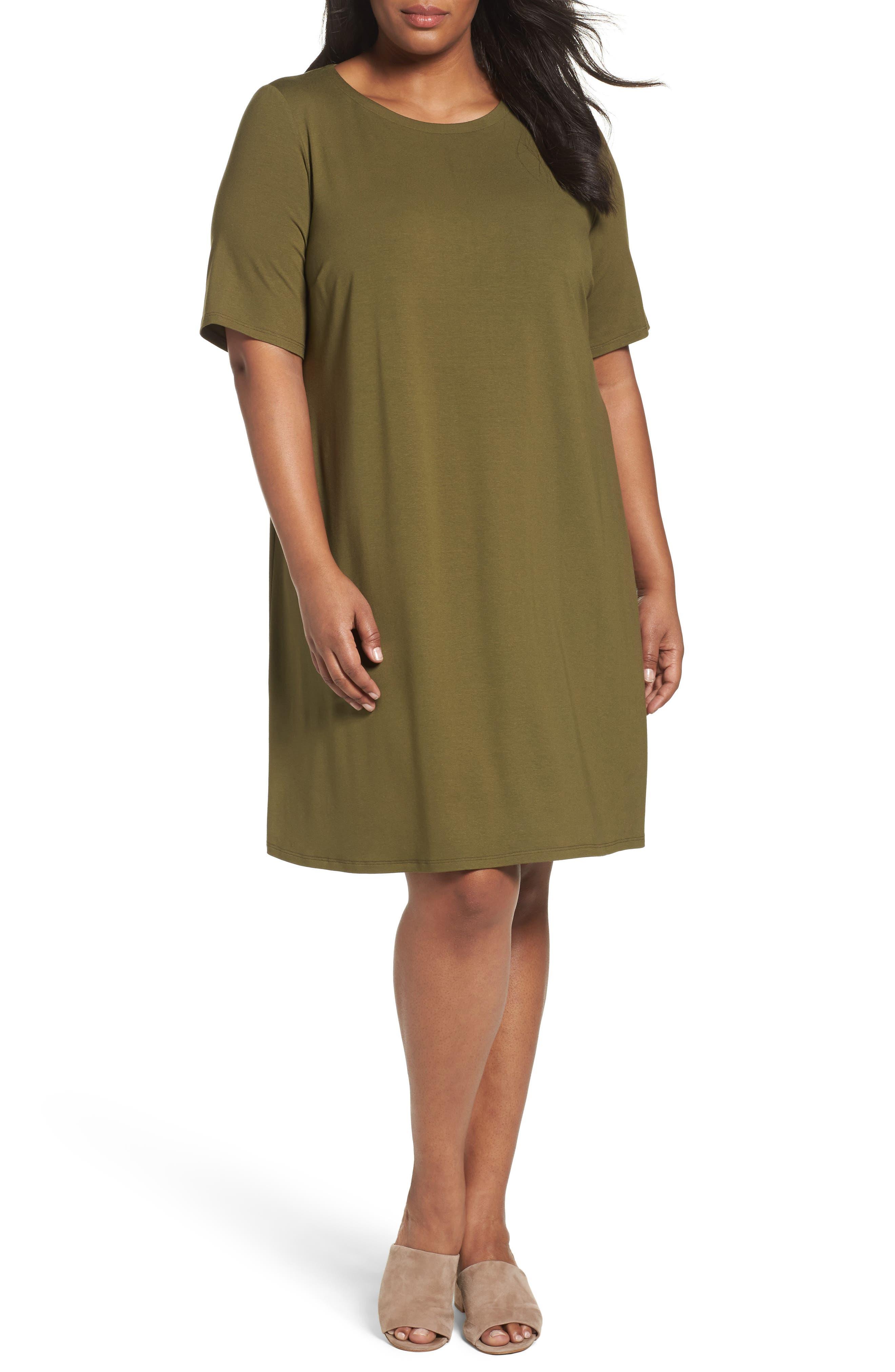 Stretch Jersey Shift Dress,                             Main thumbnail 3, color,
