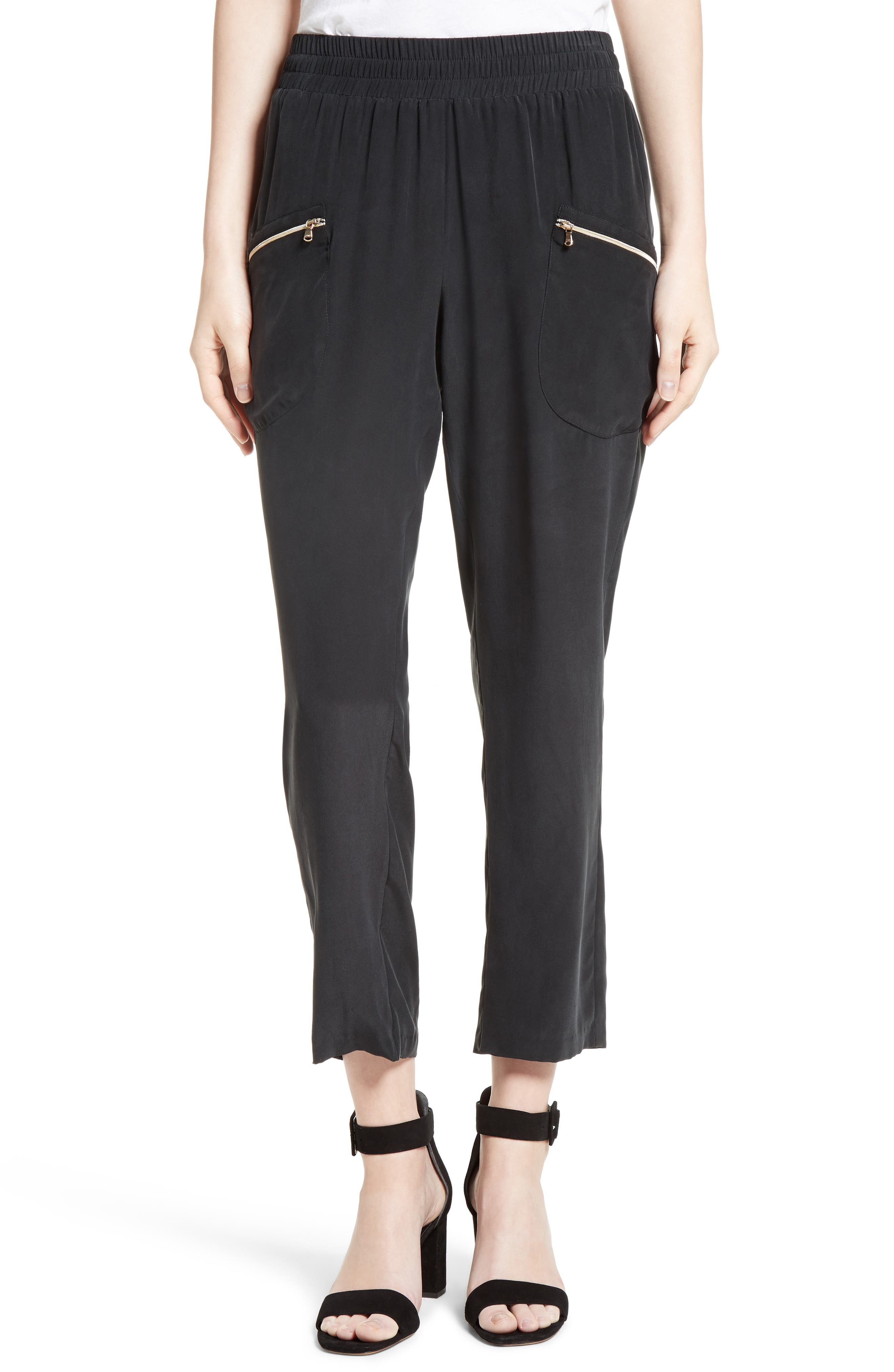 L'AGENCE Draped Silk Cargo Pants, Main, color, 001