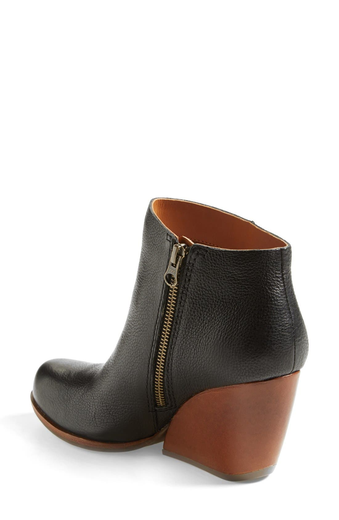 'Natalya' Burnished Leather Demi Wedge Boot,                             Alternate thumbnail 2, color,                             001
