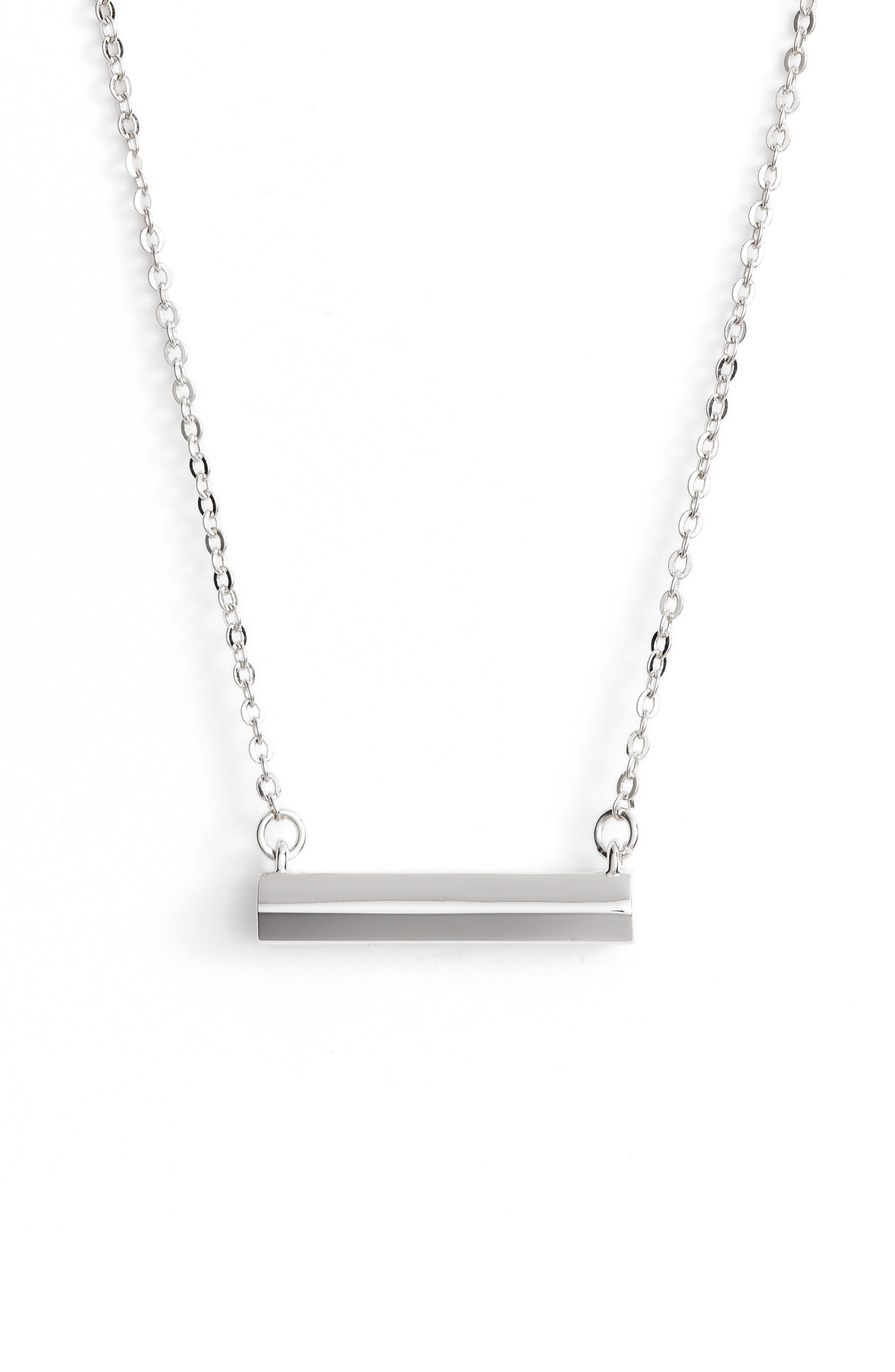 Hexagon Shaped Bar Pendant Necklace,                             Main thumbnail 1, color,                             040
