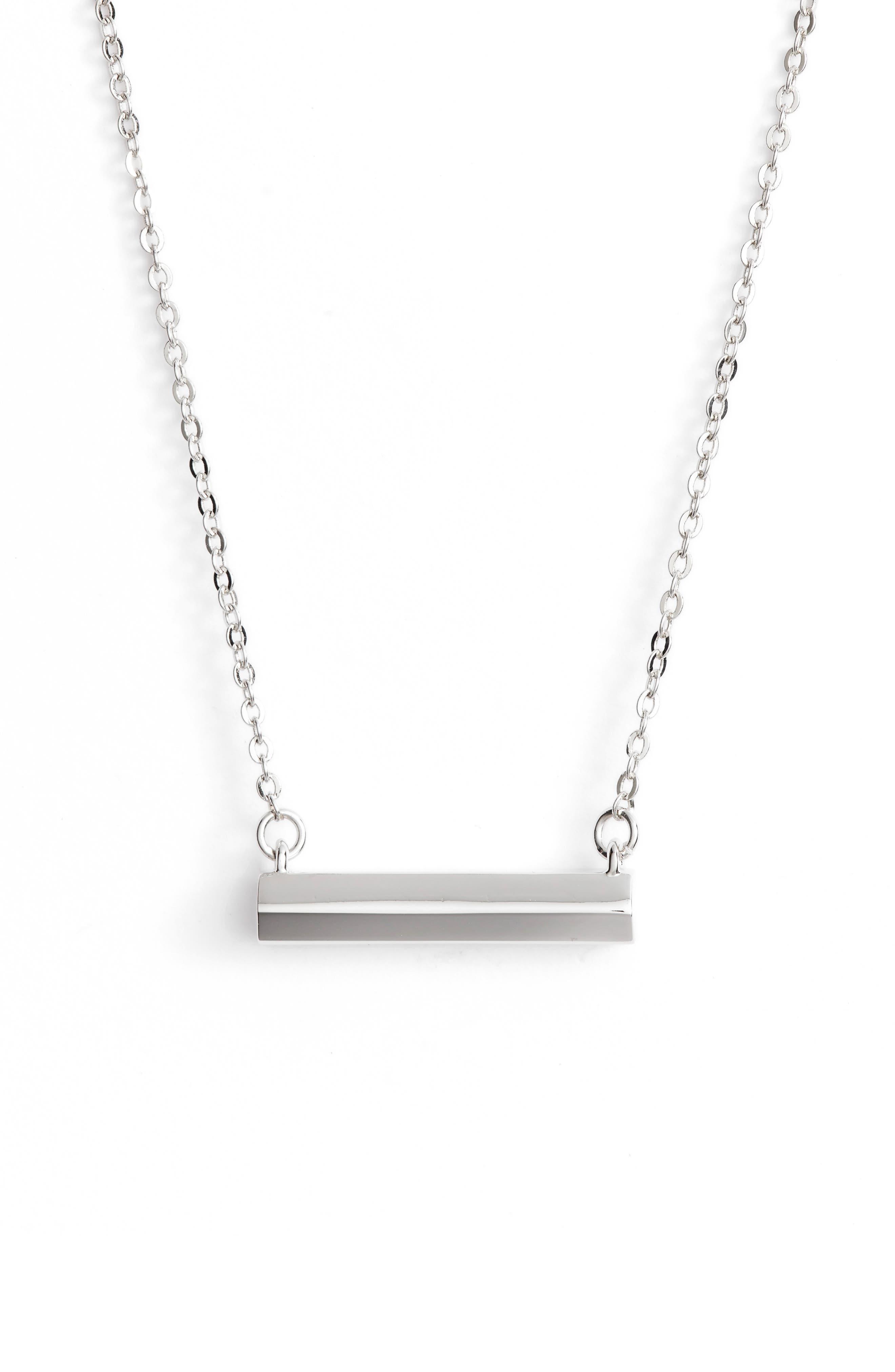 Hexagon Shaped Bar Pendant Necklace,                         Main,                         color, 040