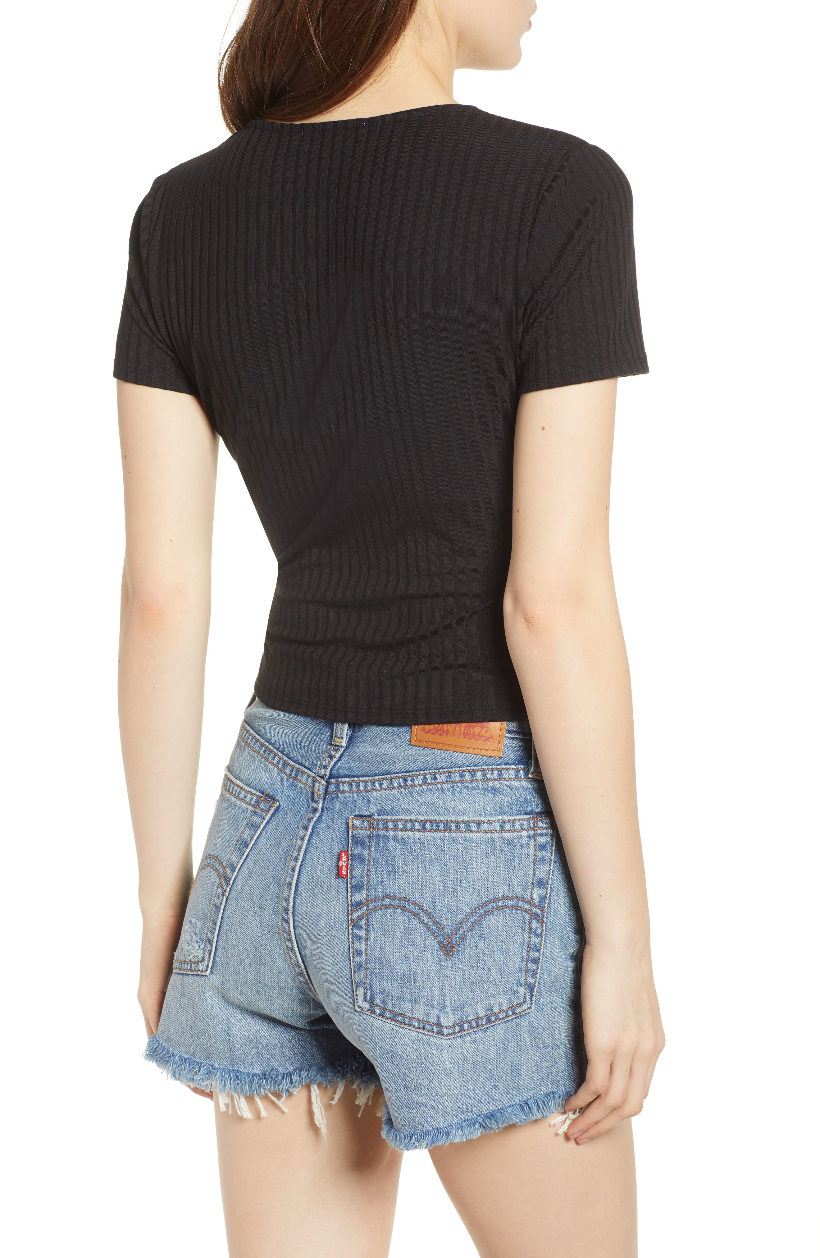 Ribbed Wrap Front Top,                             Alternate thumbnail 2, color,                             BLACK