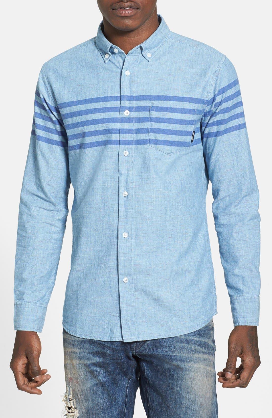 55DSL,                             'Stendard 55' Chest Stripe Print Woven Shirt,                             Alternate thumbnail 5, color,                             400