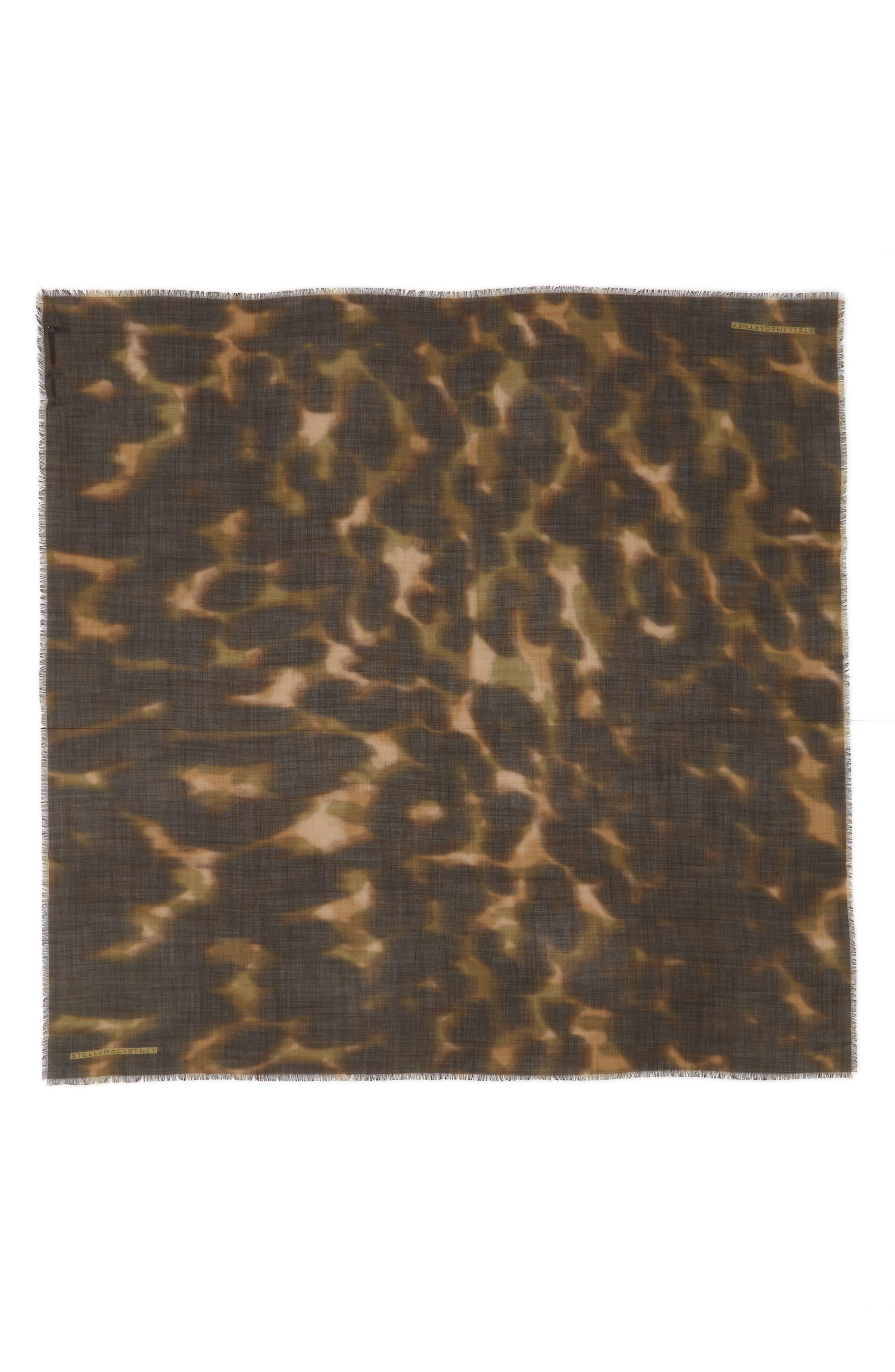 STELLA MCCARTNEY Nina Leopard Print Wool & Silk Scarf, Main, color, 300