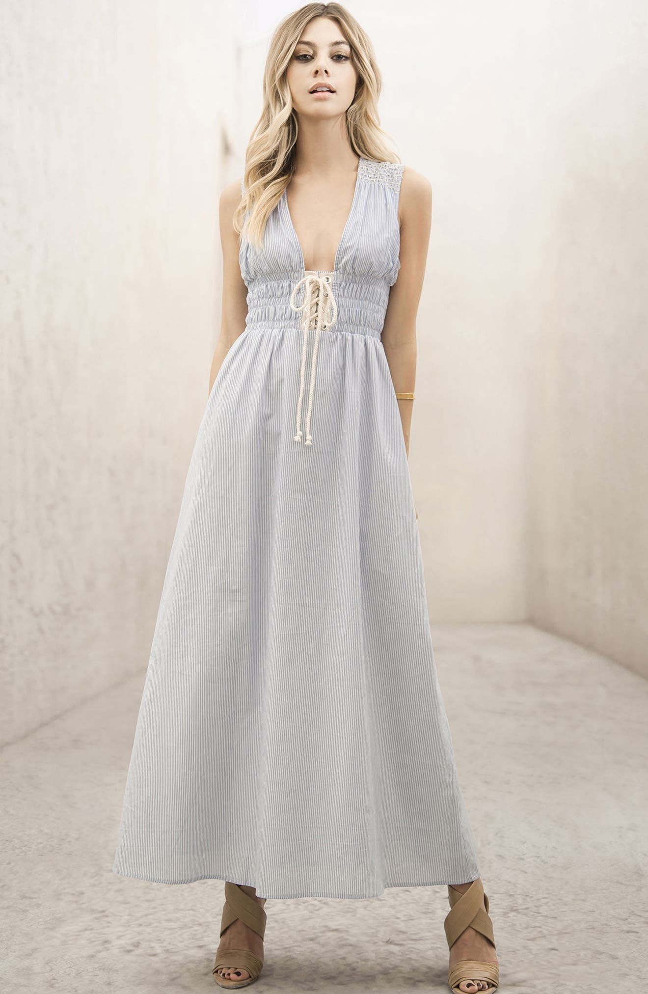 Stripe Lace-Up Maxi Dress,                             Alternate thumbnail 7, color,                             400
