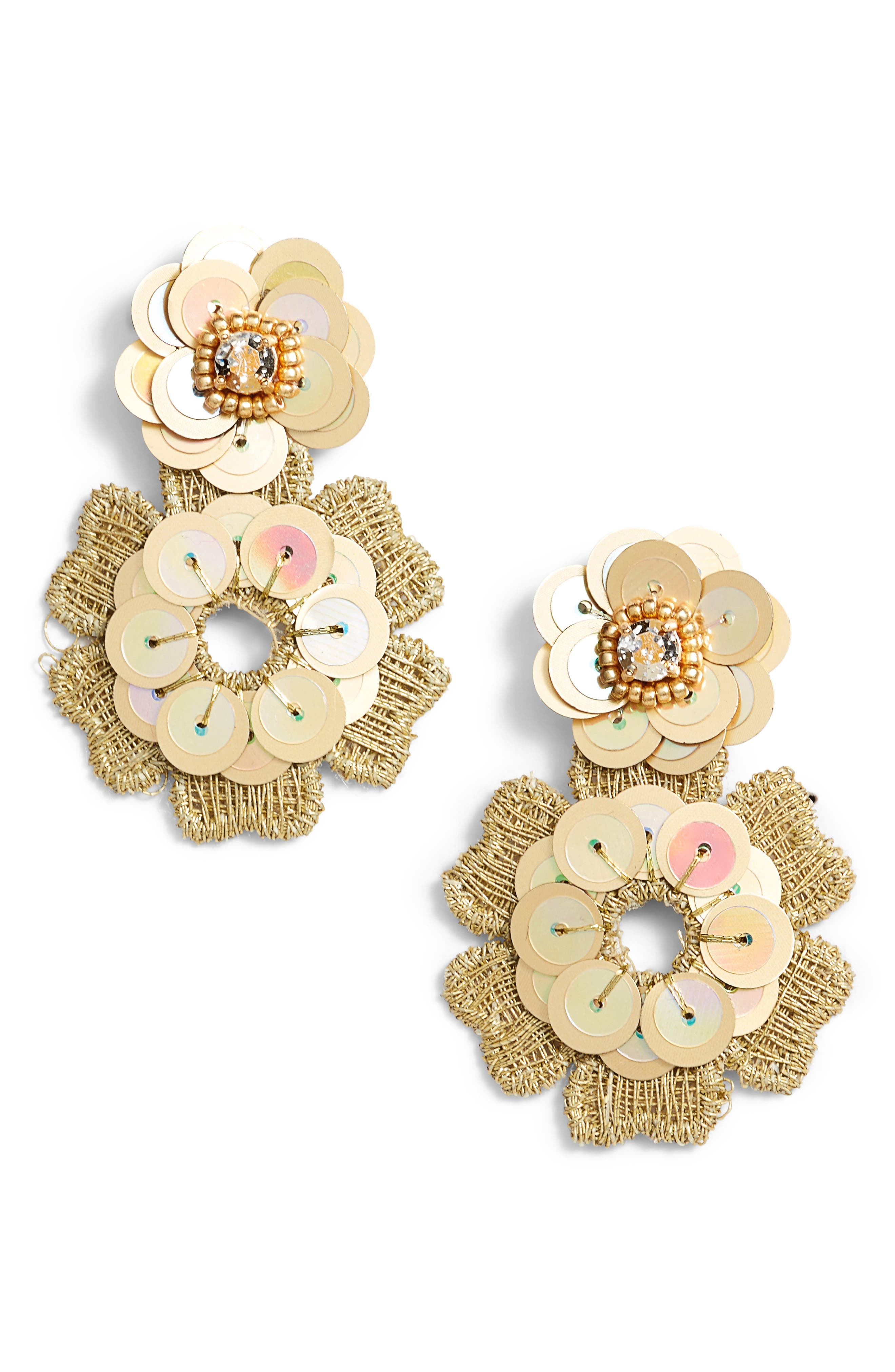 posy grove sequin drop earrings,                             Main thumbnail 2, color,
